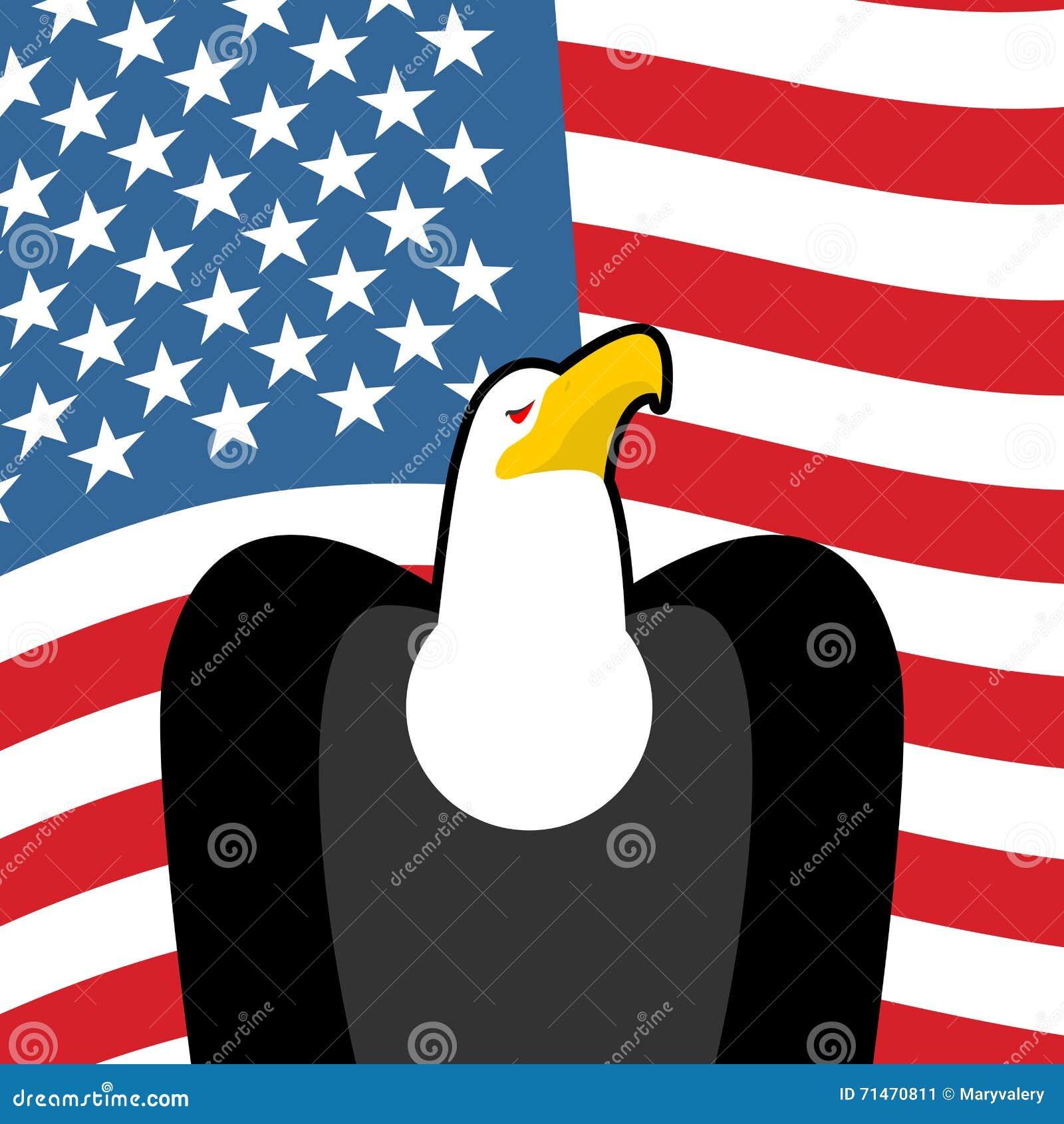 Bald Eagle Usa National Symbols Large Birds Of Prey And Flag Stock