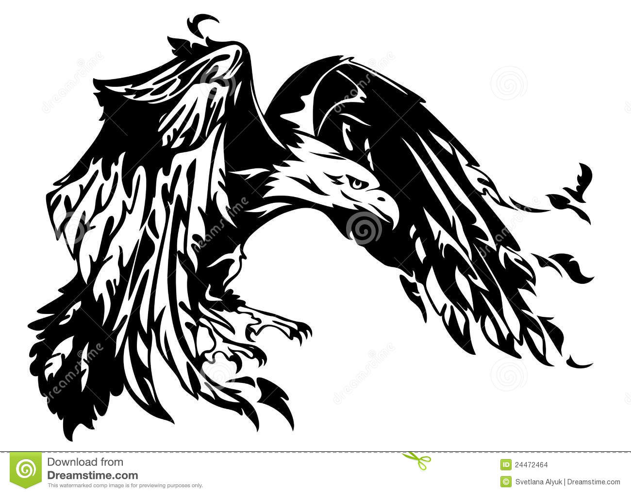 Flying eagle illustration swooping bird black and white outline