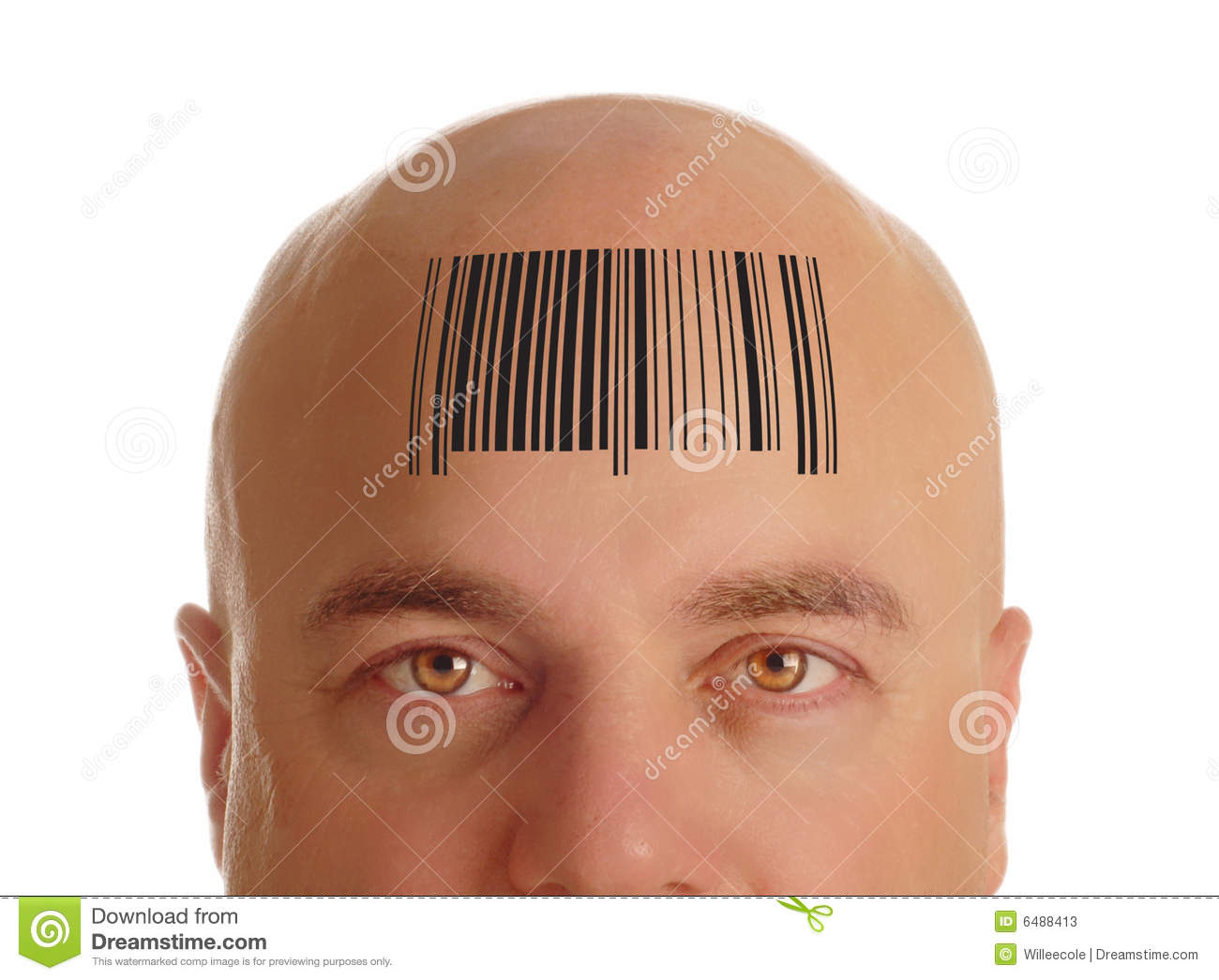 Bald head with barcode