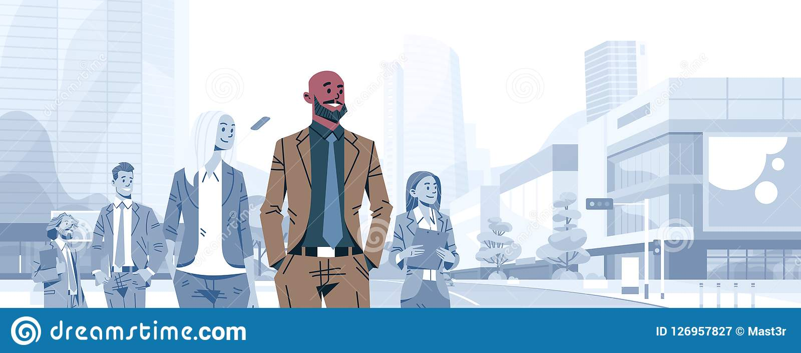 Bald head businessman team leader boss stand out business people group individual leadership concept male cartoon
