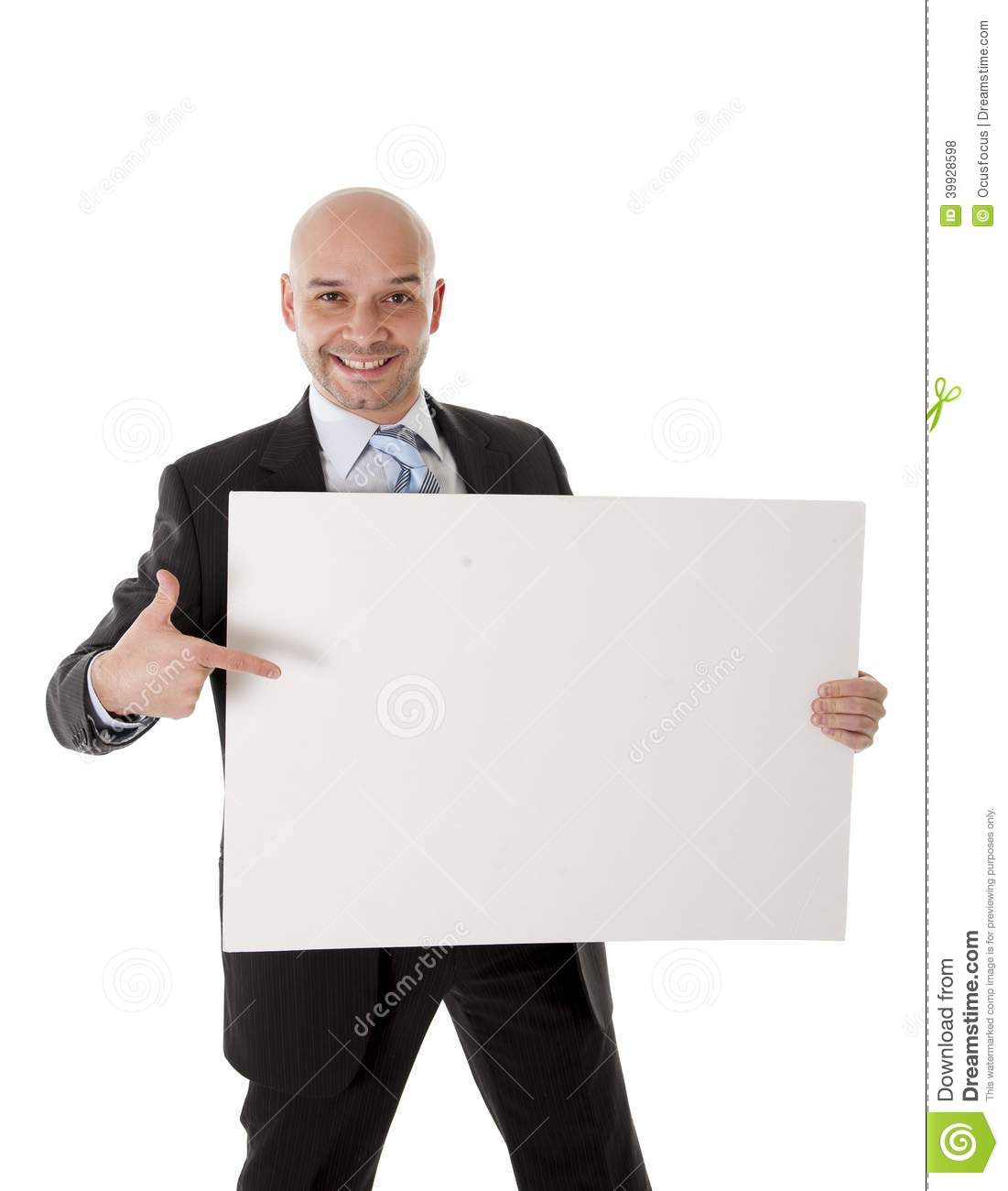 Bald Latin Business Man Holding Blank Sign For