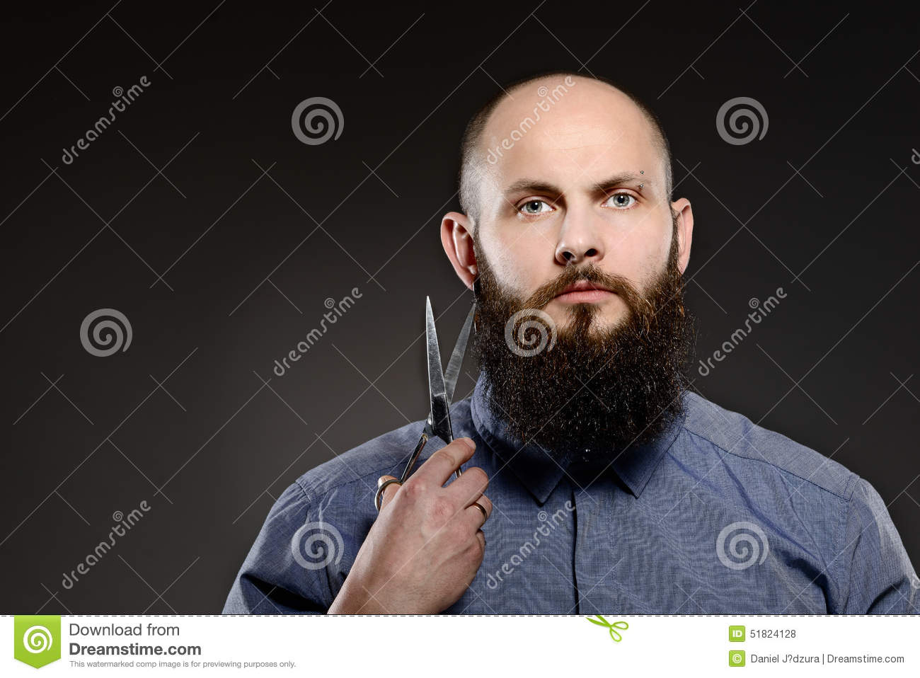 bald man with a beard holding a pair of scissors stock photo image 51824128. Black Bedroom Furniture Sets. Home Design Ideas