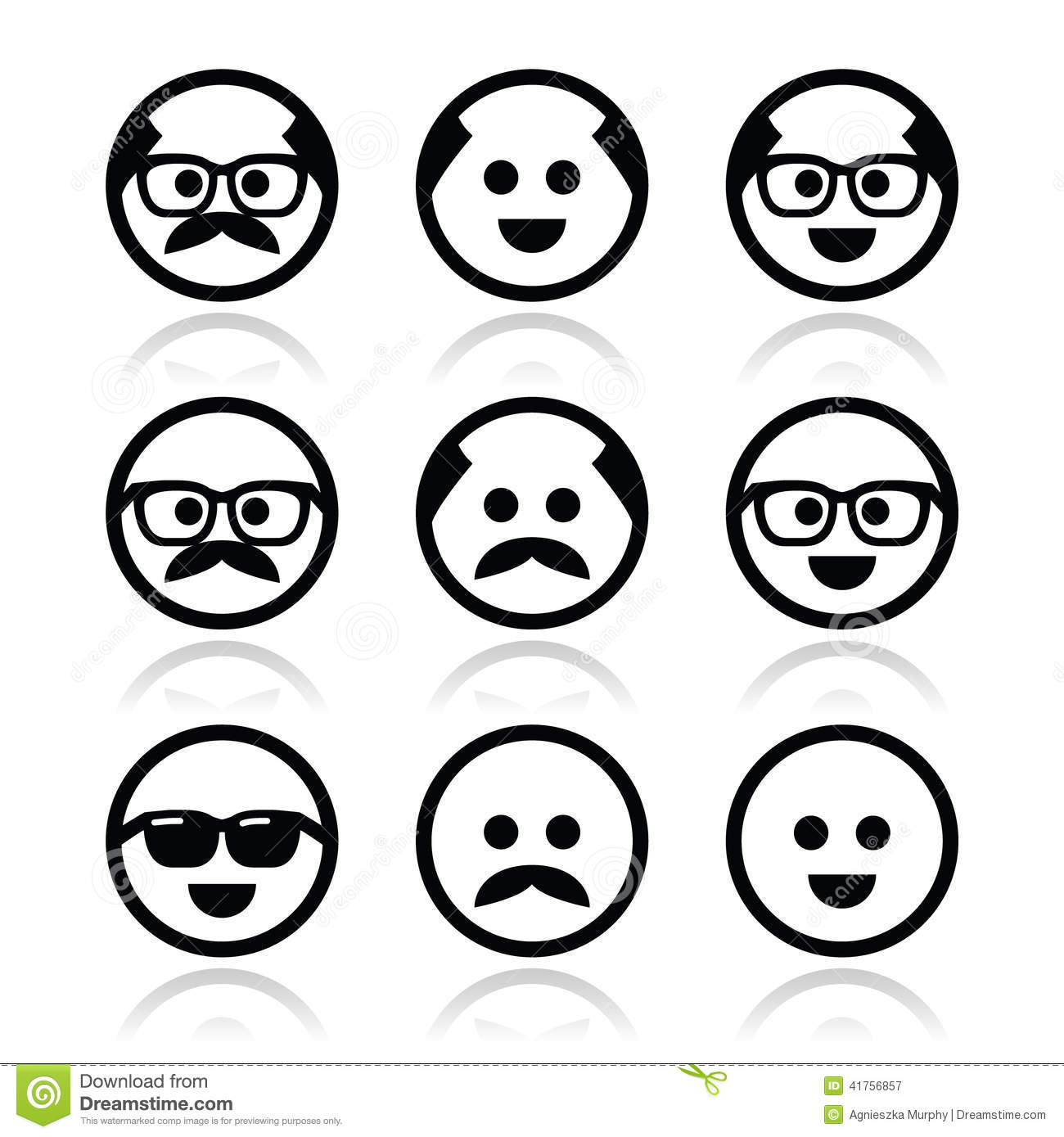 bald man with mustache and in glasses faces icons set redneck clipart free black and white Free Redneck Graphics
