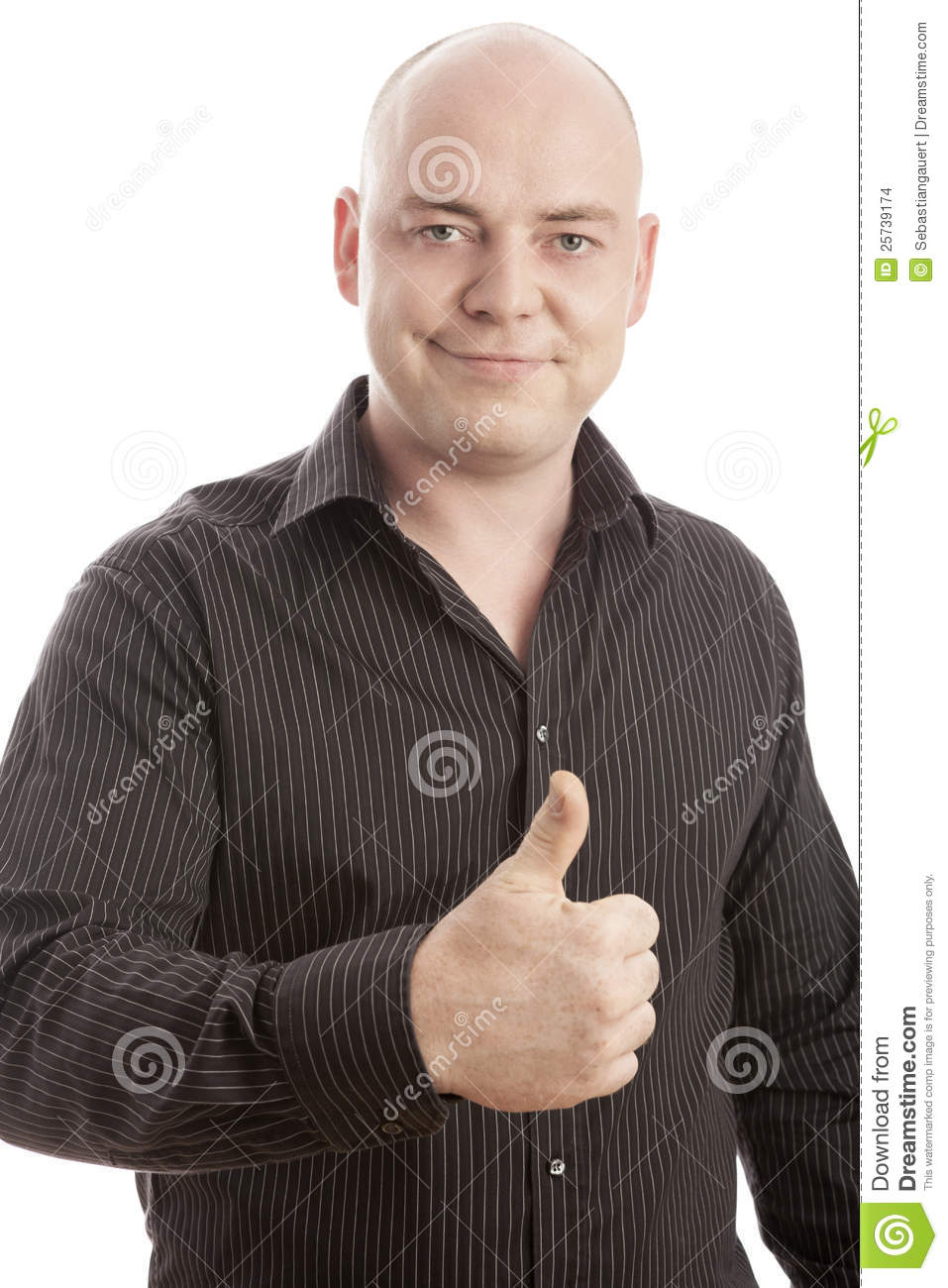 Bald man with shirt thumb up and smiling