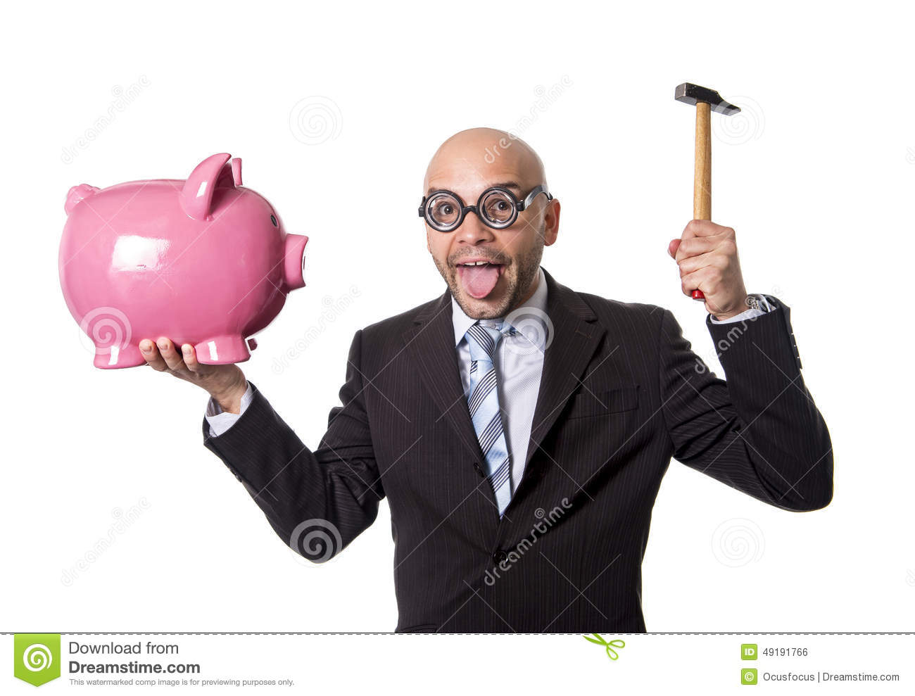 Bald nerdy businessman with geek glasses holding pink piggybank on his hand ready to break piggy bank with hammer
