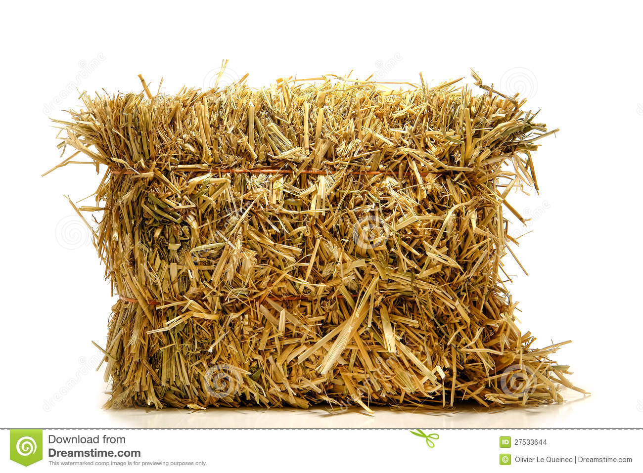 Bale of Natural Farming Straw Hay over White