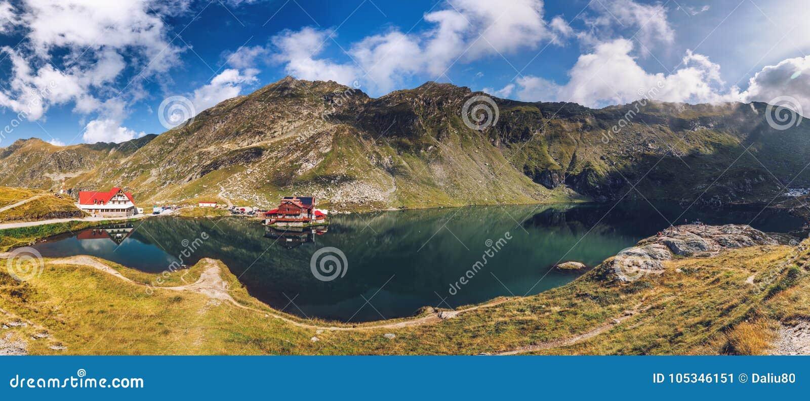 Balea glacier lake near the Transfagarasan road, panoramic view.