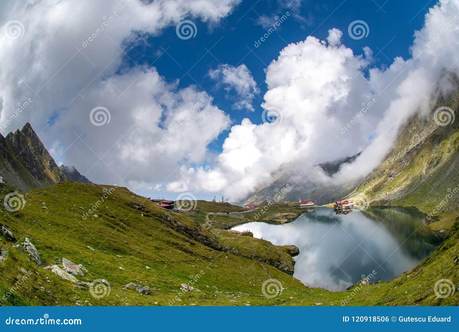 Balea glacier lake, Transfagarasan road in Romania Carpathian Fagaras mountains
