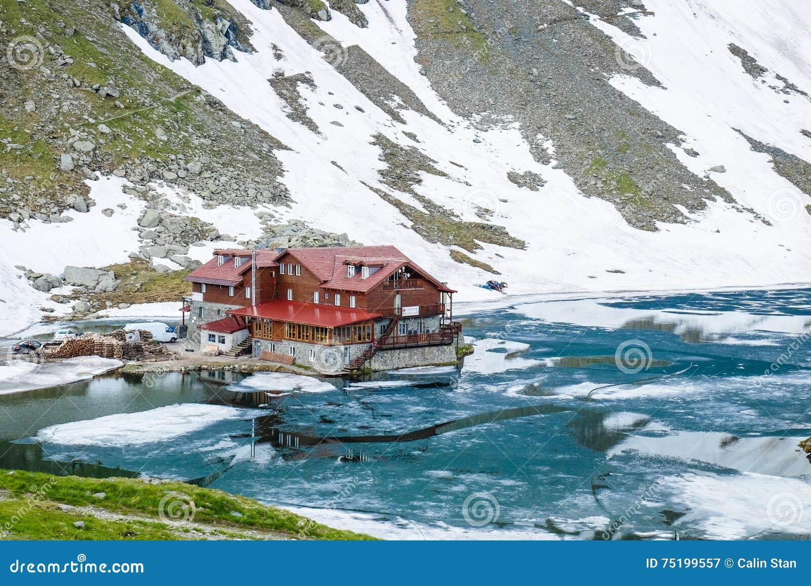 Balea Lake Transfagarasan Romania. Important tourist attraction.