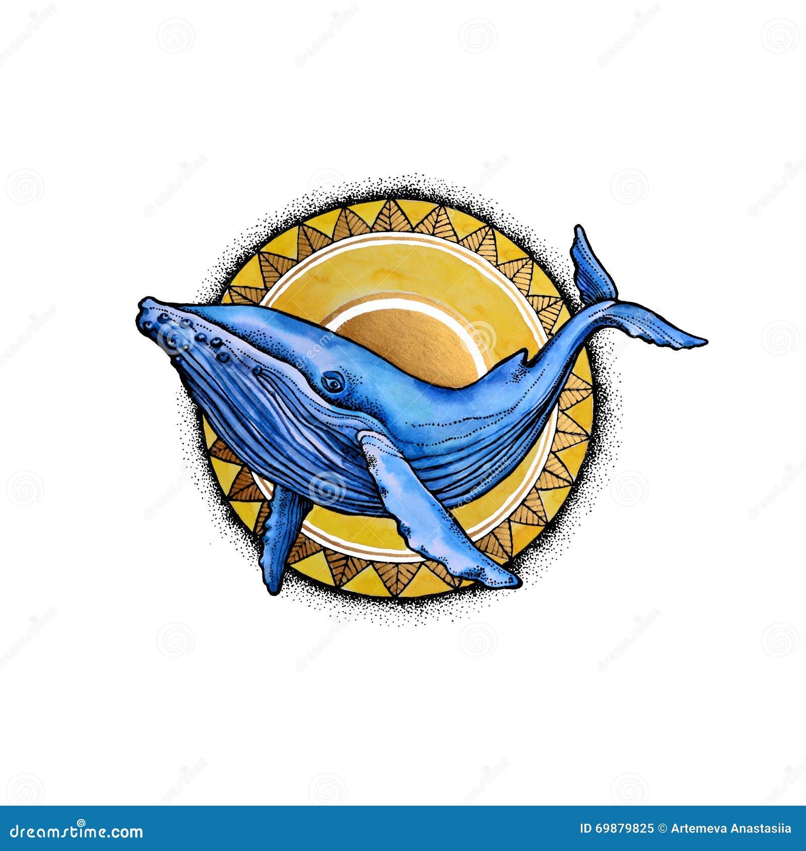 Baleia da aquarela e o sol
