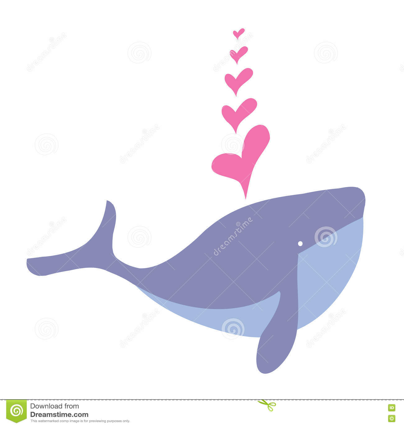 Baleia dos desenhos animados e coração felizes, animal da baleia dos desenhos animados da água