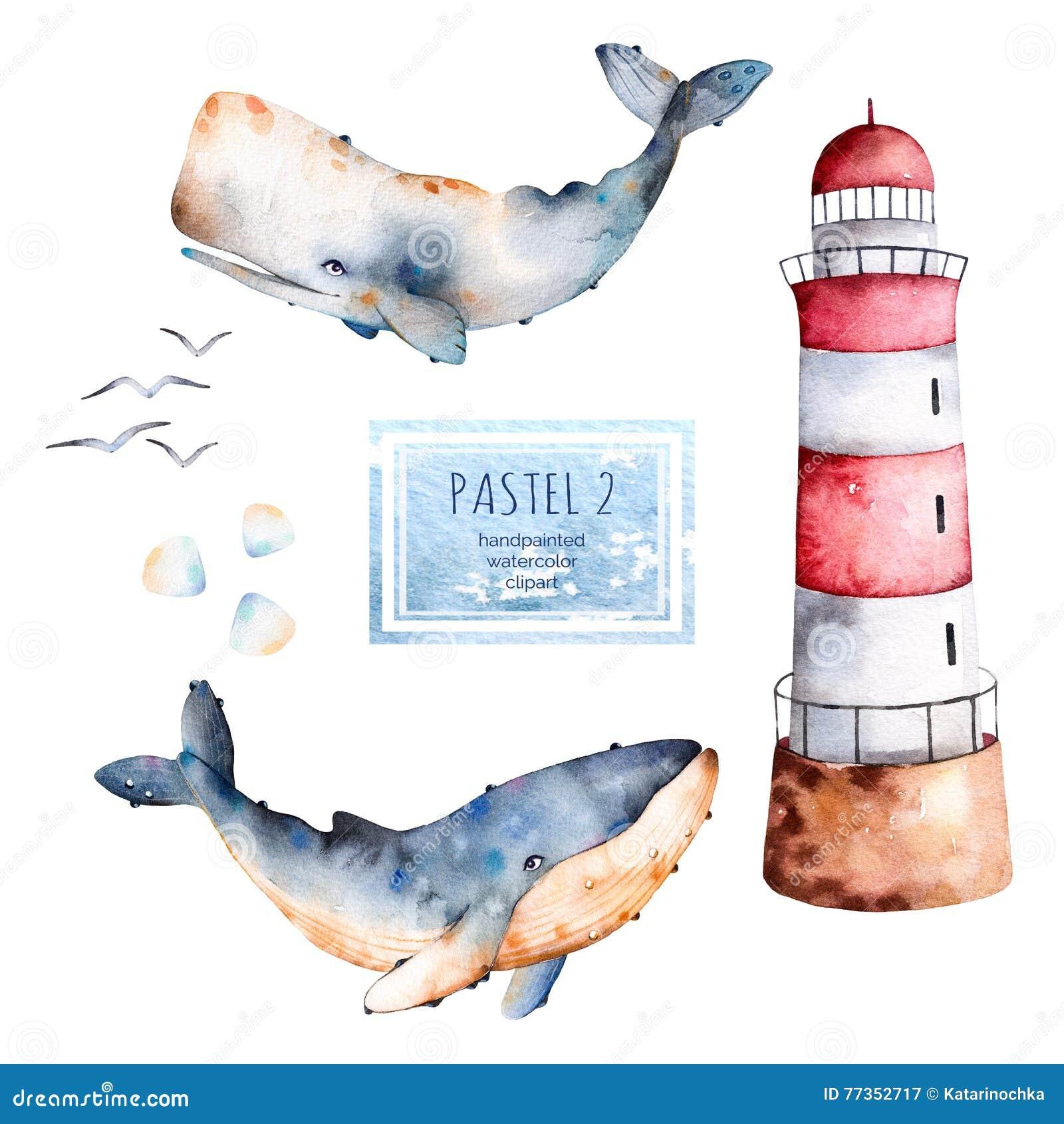 Baleias, conchas do mar e farol handpainted da aquarela nas cores pastel