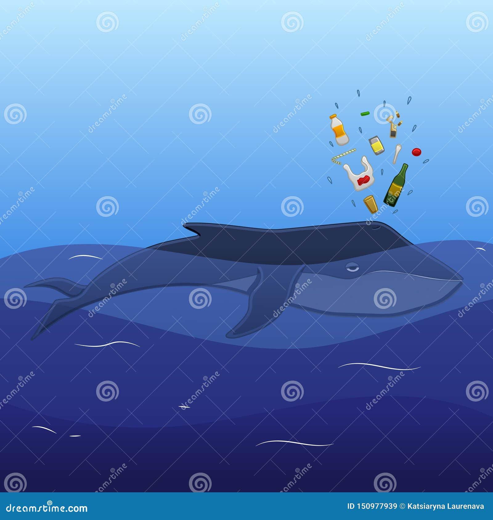 Baleine avec le bec de déchets