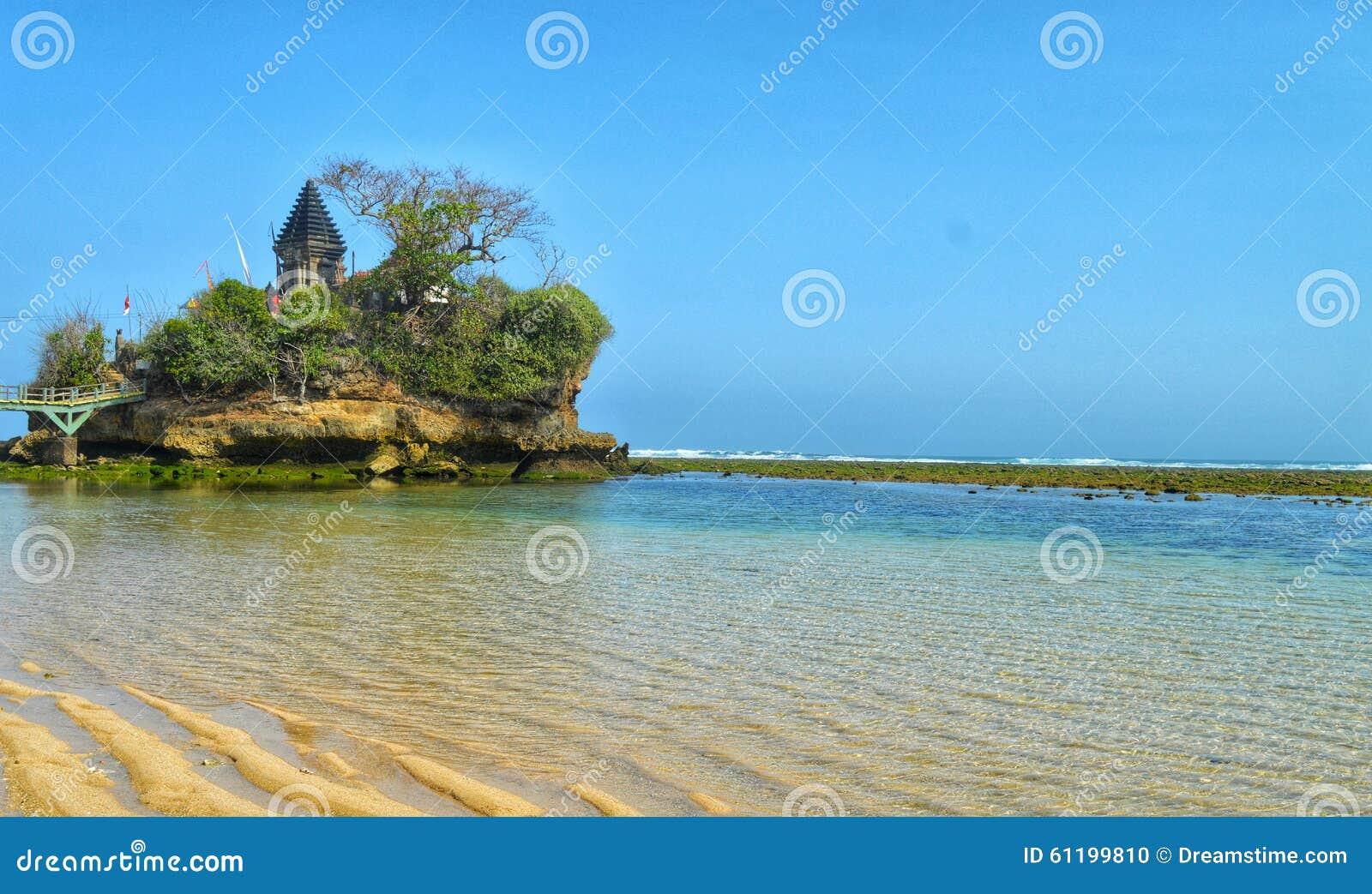 Download Balekambang beach temple stock photo. Image of east, indonesia - 61199810