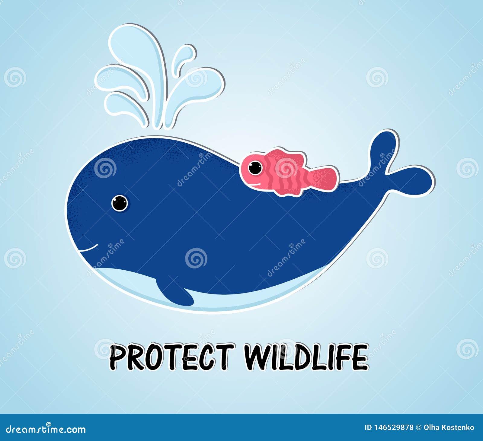 Balena blu di stile con il pesce nell oceano