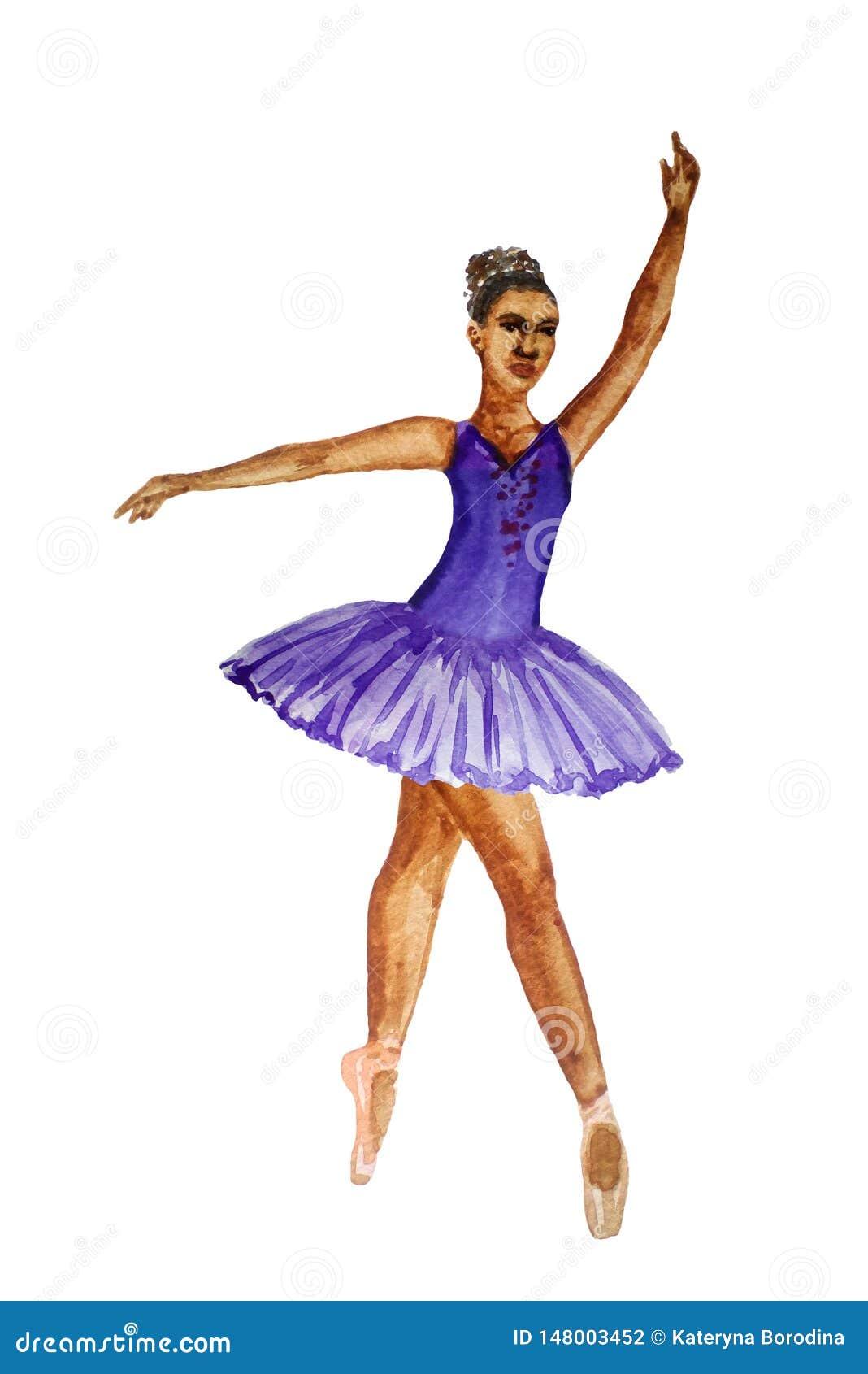 Baleriny dancingowej dziewczyny akwareli obrazu ilustracja odizolowywaj?ca na bia?ego t?a afryka?skim europejskim chi?czyku