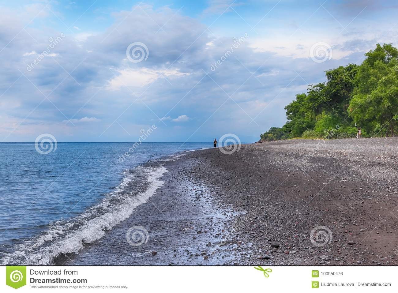 Bali Volcanic Black Beach In Amed Stock Photo Image Of