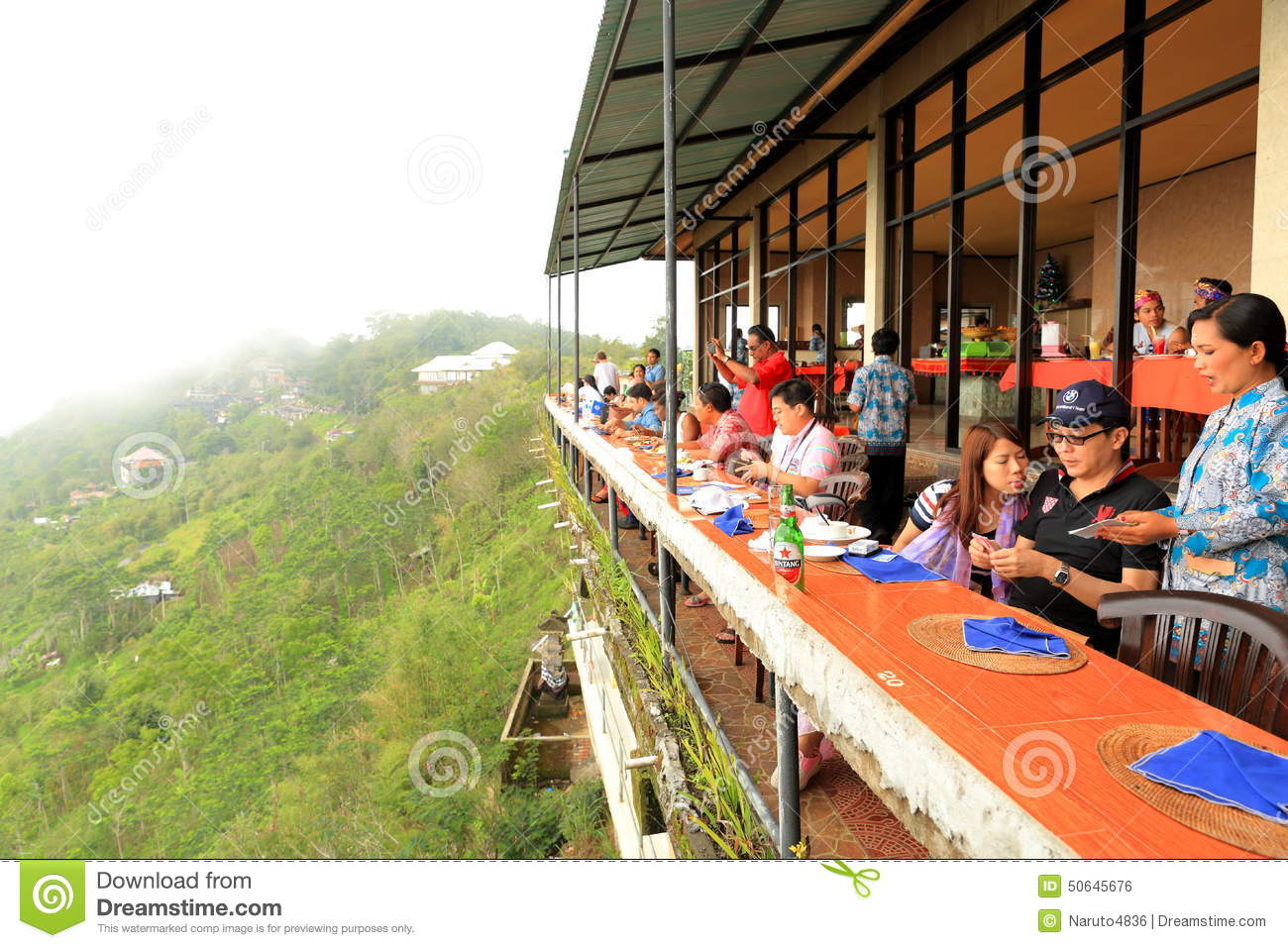 Exhibition Stall Styles : Bali cliff side dinning editorial photo image