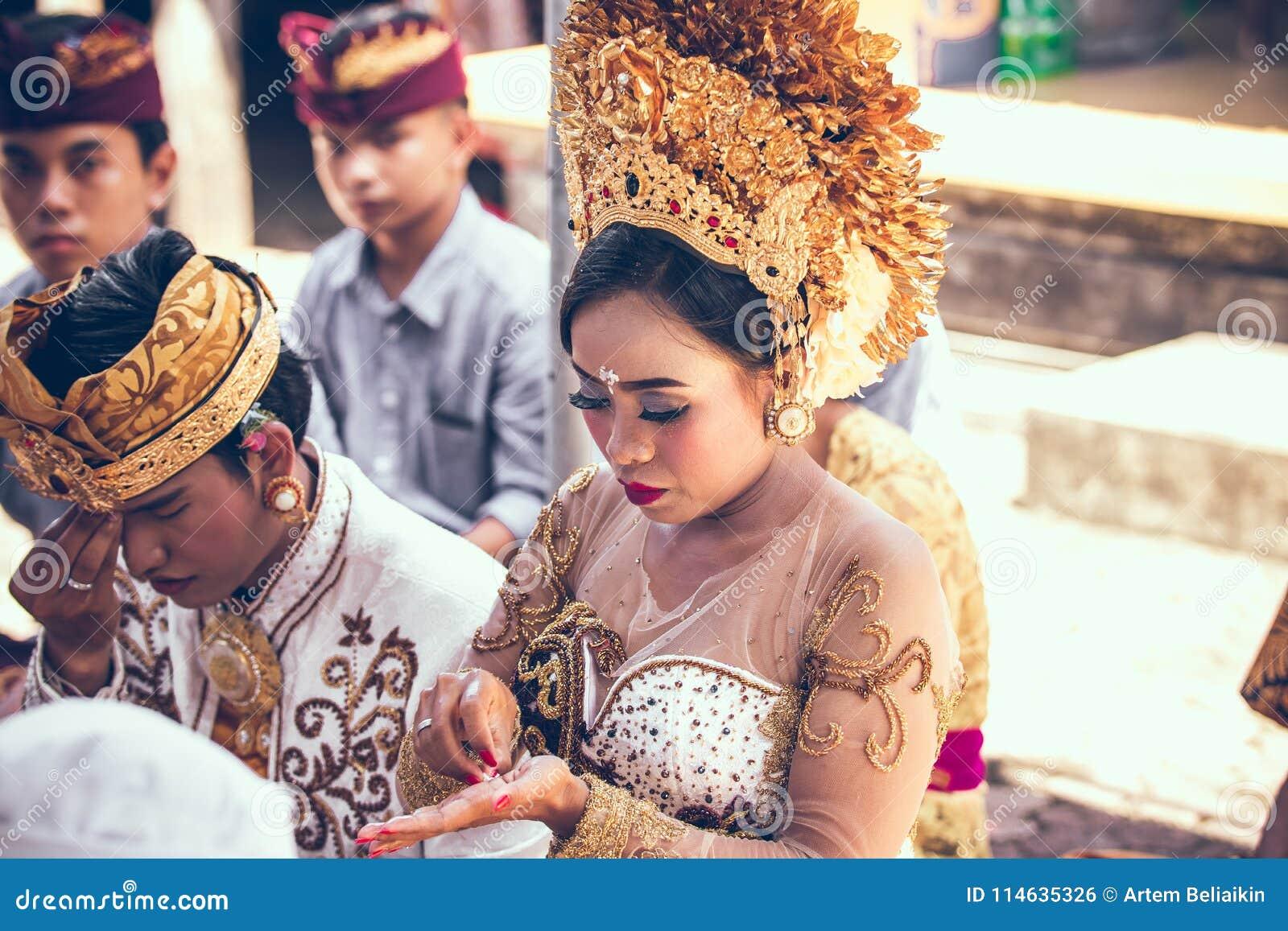 Wedding Ceremony Traditional.Bali Indonesia April 13 2018 People On Balinese Wedding