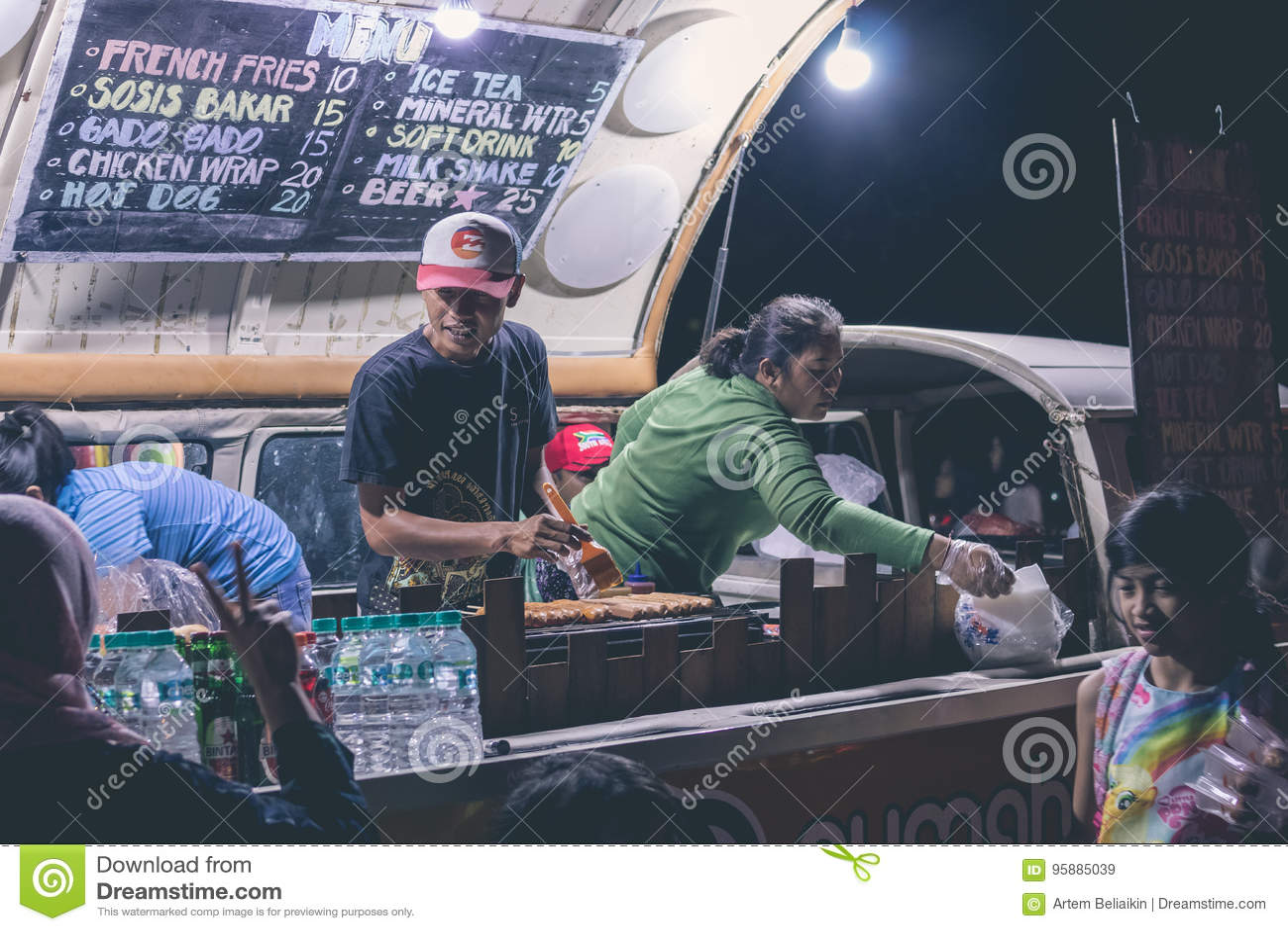 BALI, INDONESIA - JULY 8, 2017: Indonesian street food cafe, fast food on festival on Bali island.