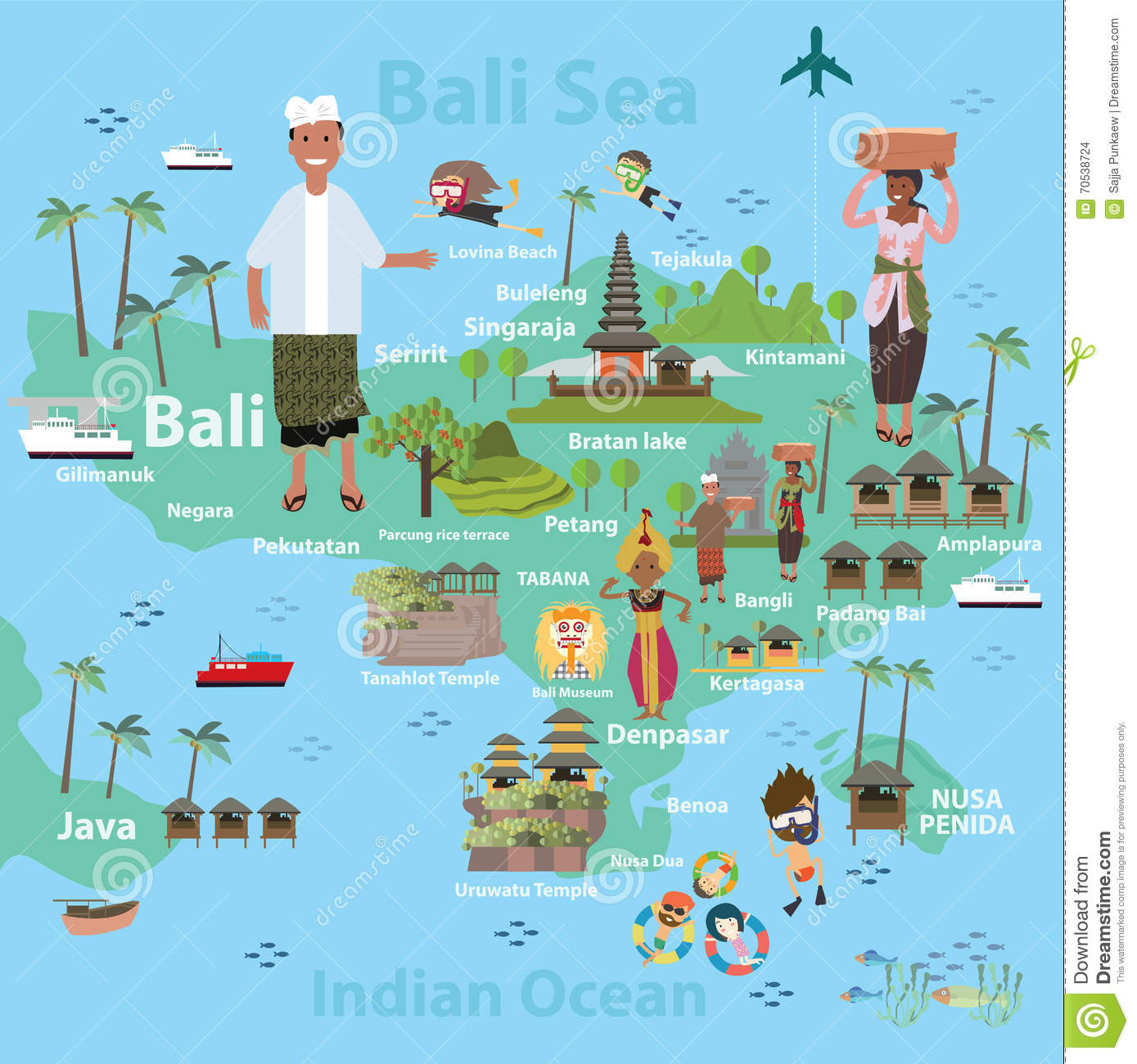 Bali Indonesia Map And Travel Stock Vector - Illustration of asia ...