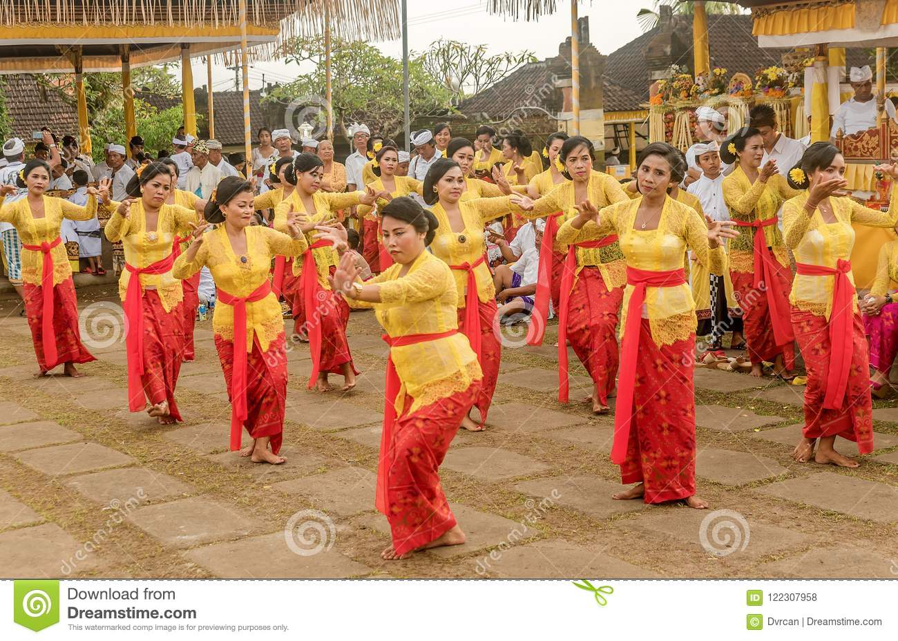 Beautiful Indonesian People Group In Colorful Sarongs