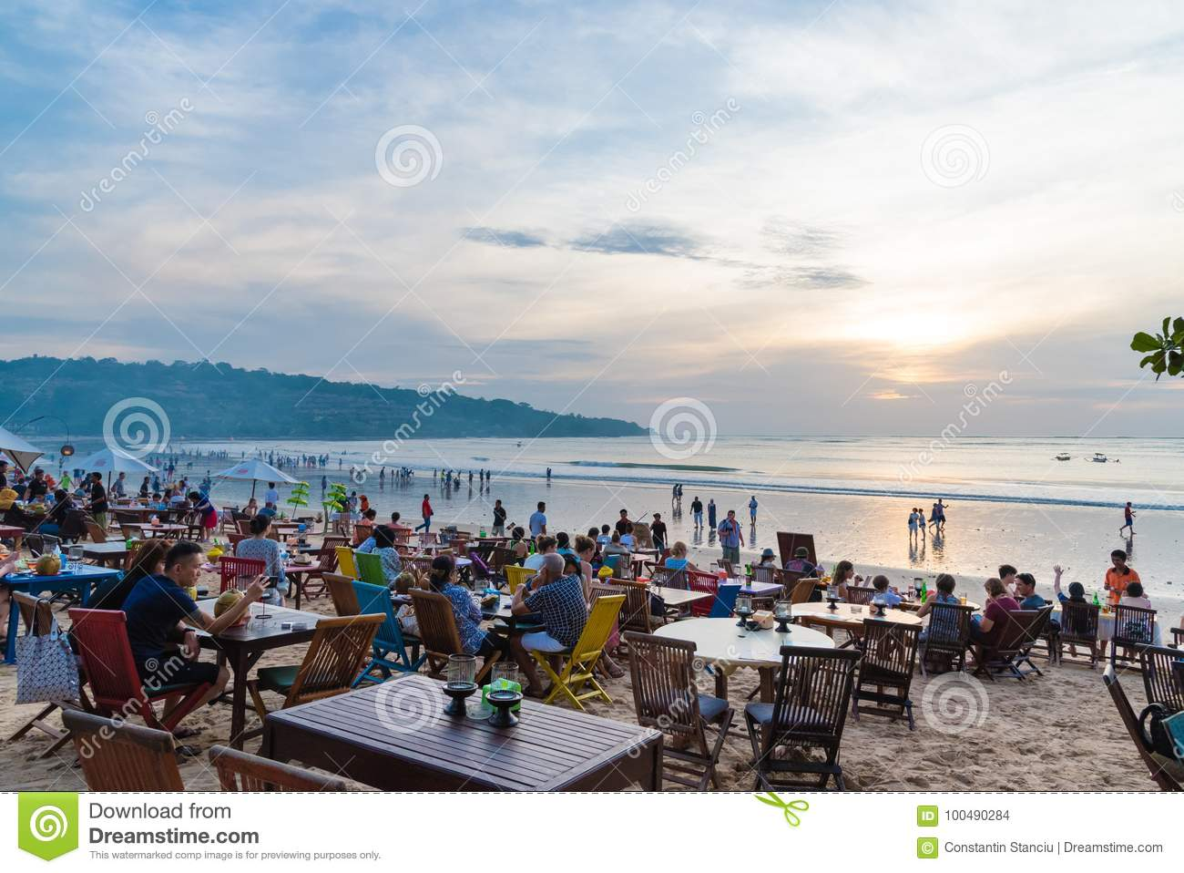 Sea Food Restaurants On Jimbaran Beach In Bali Indonesia Editorial