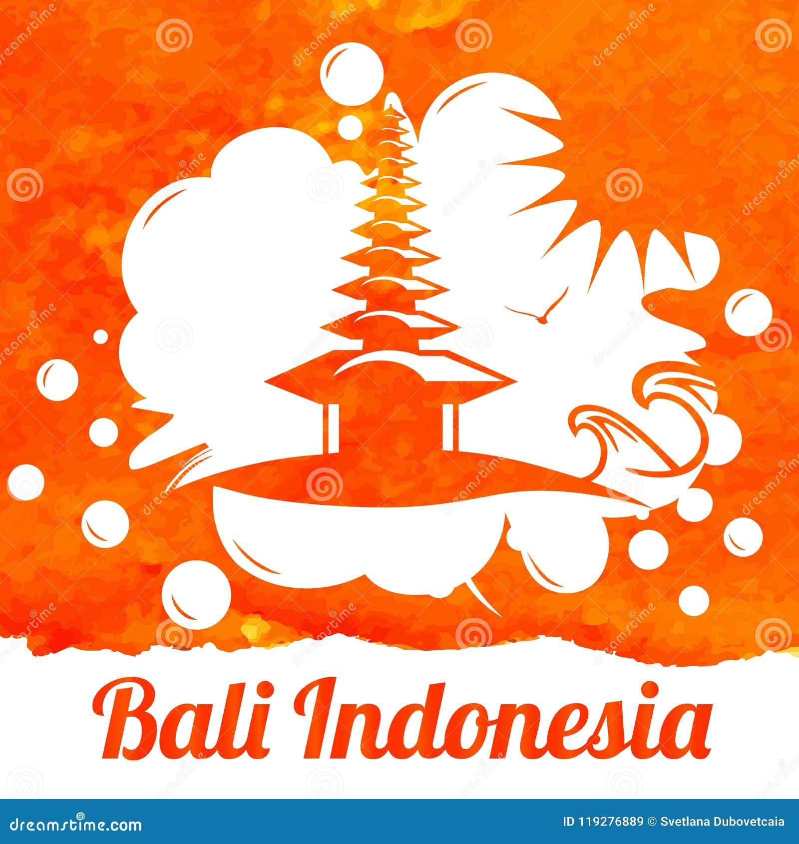 Bali Indonesian Landscape Watercolor Bali In Indonesia View Hand