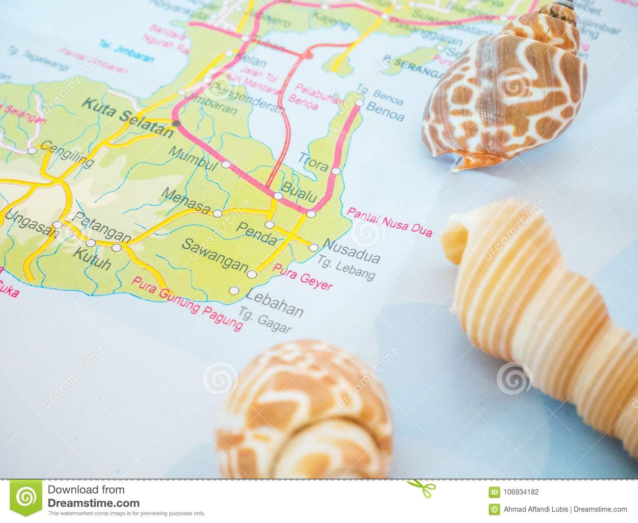 Bali Travel Maps With Seashells And With Popular Destination