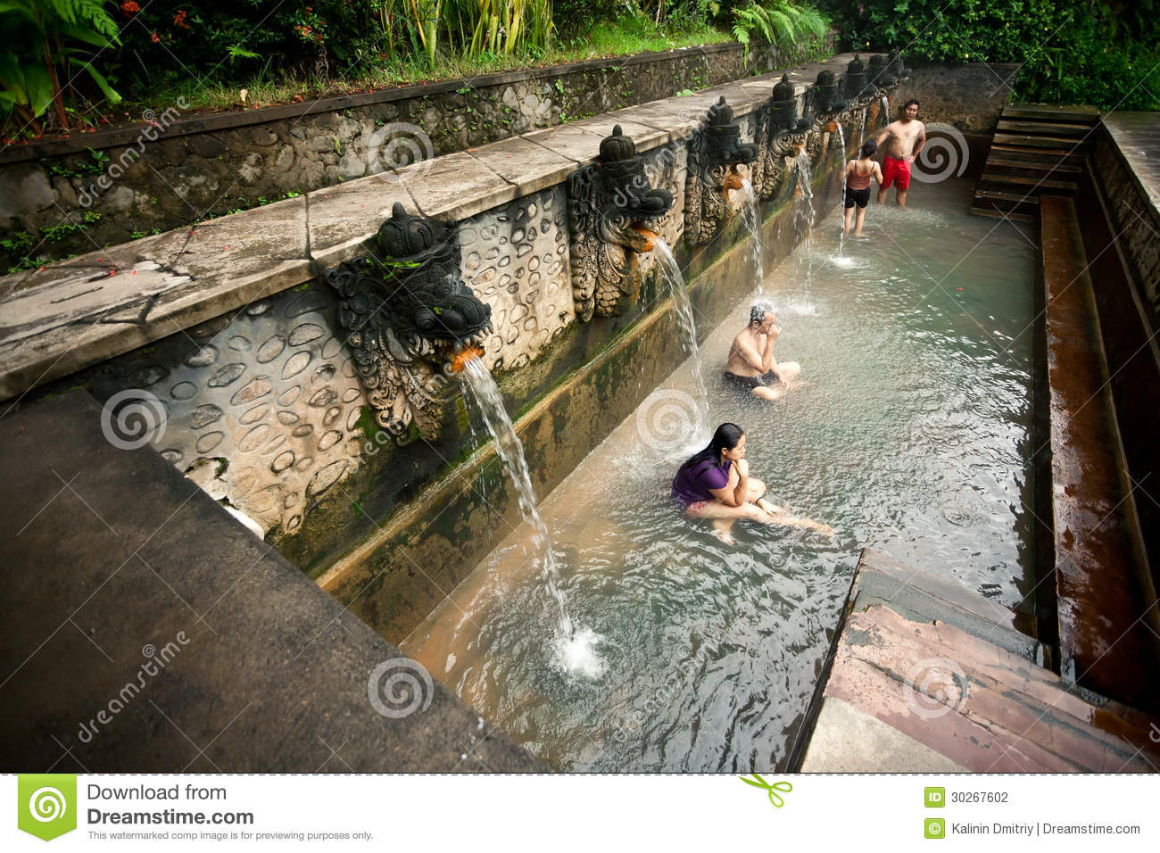 Bali January 3 People Take A Bath In Termal Banjar