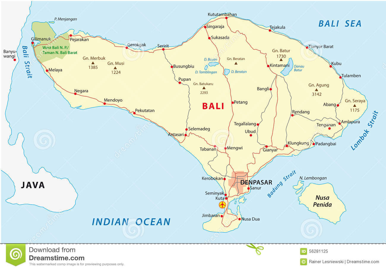 Bali map stock vector. Illustration of reef, strait, bali - 56281125