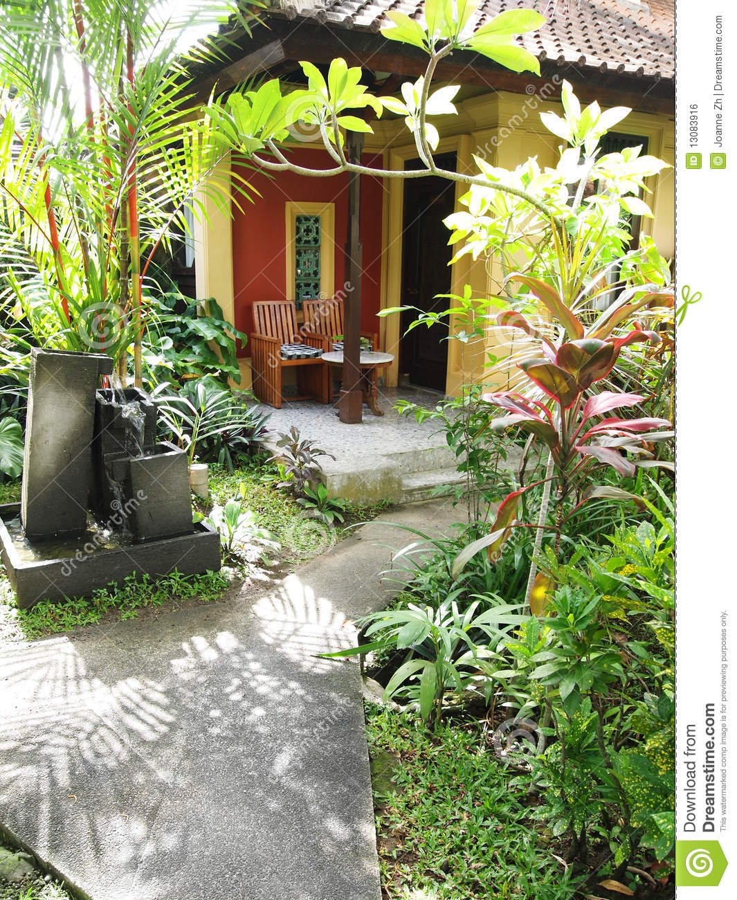 Bali Resort Patio Garden Royalty Free Stock Image - Image: 13083916