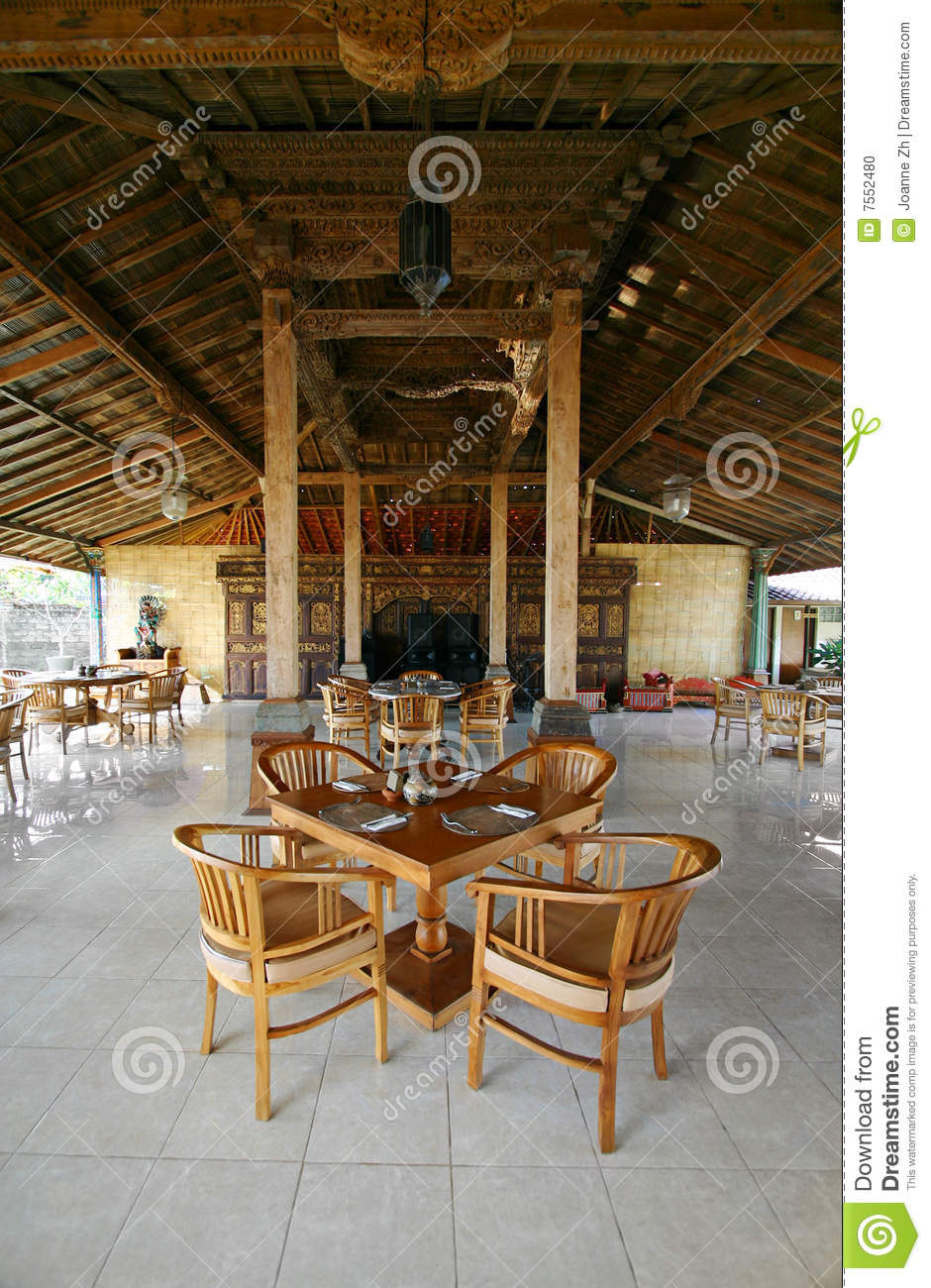Bali restaurant interior stock photo image