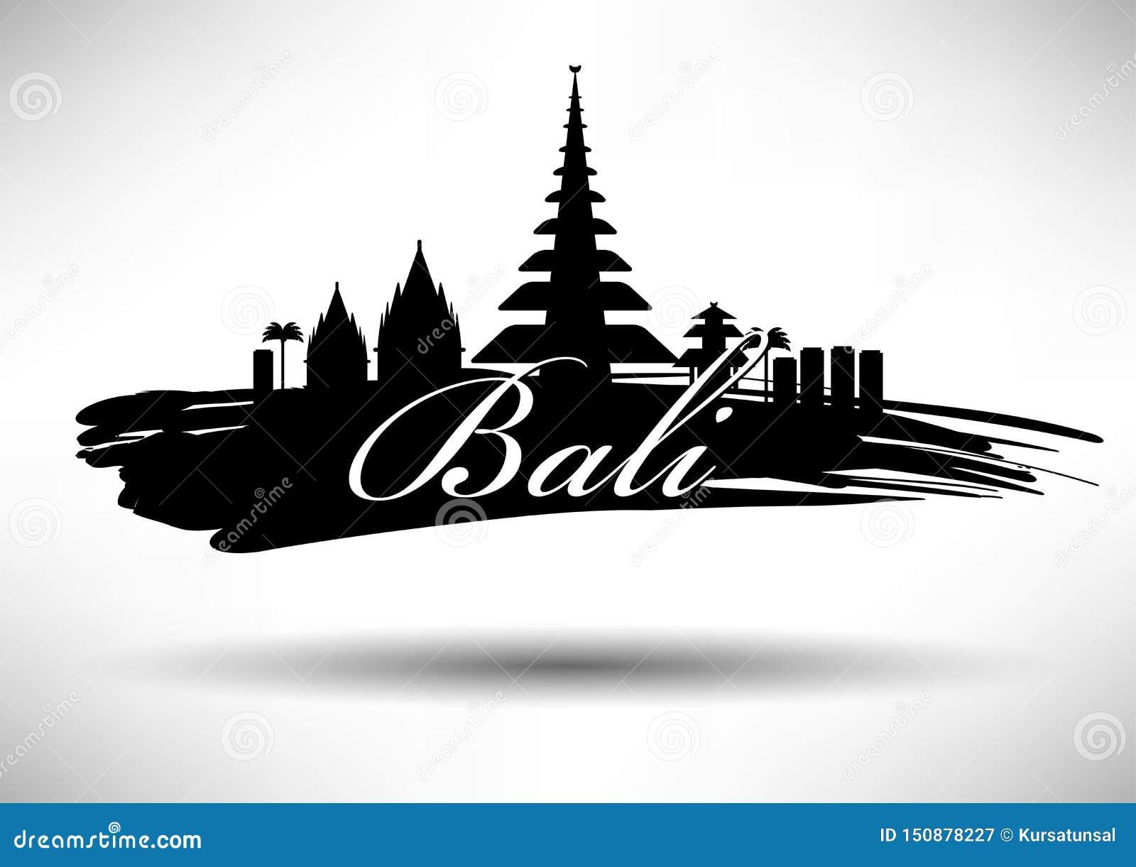 Bali Skyline with Typography Design
