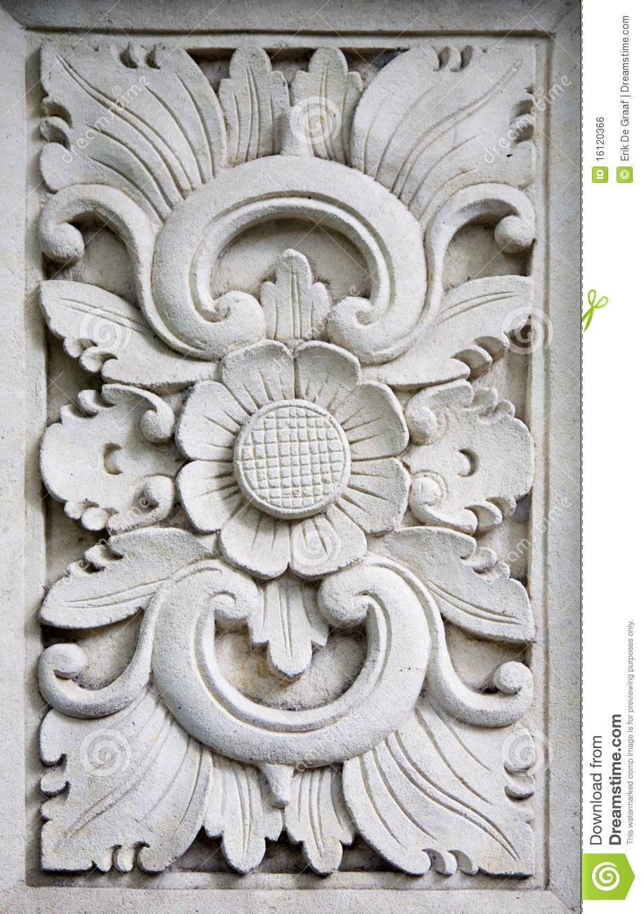 Bali stone carving stock photo image of symbolism plant