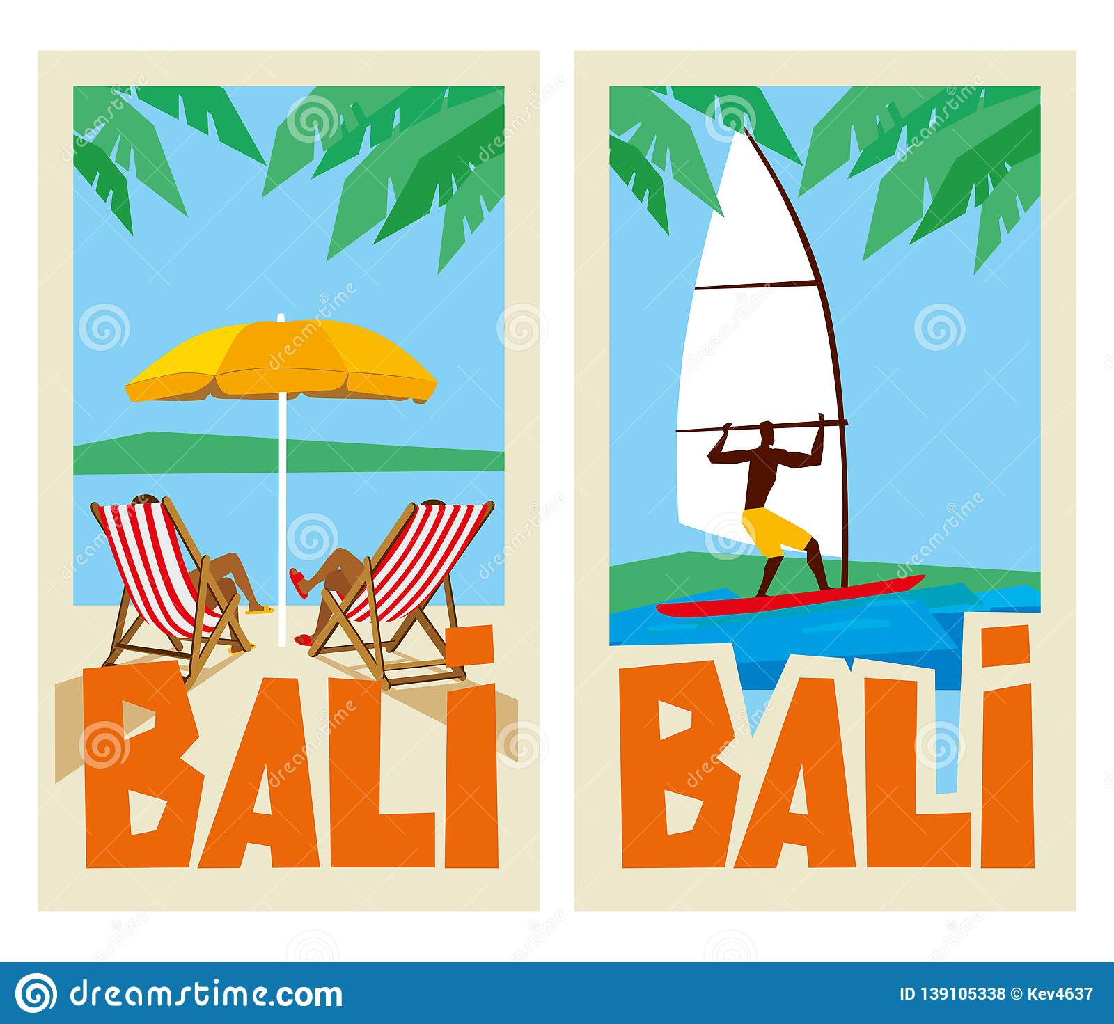 Bali Travel Stickers Sun Beds Under The Umbrella And Windsurfing
