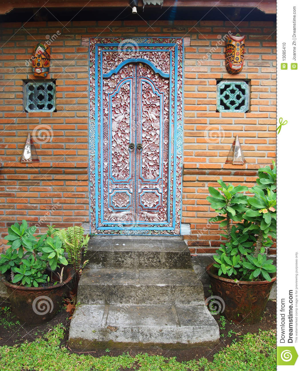 Balinese Carved Wood Door Stock Photo Image 13085410