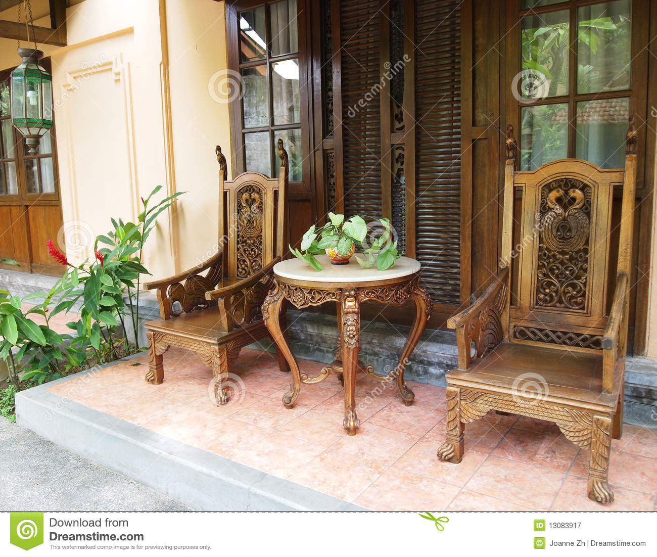 Balinese Furniture On Patio Royalty Free Stock Photography
