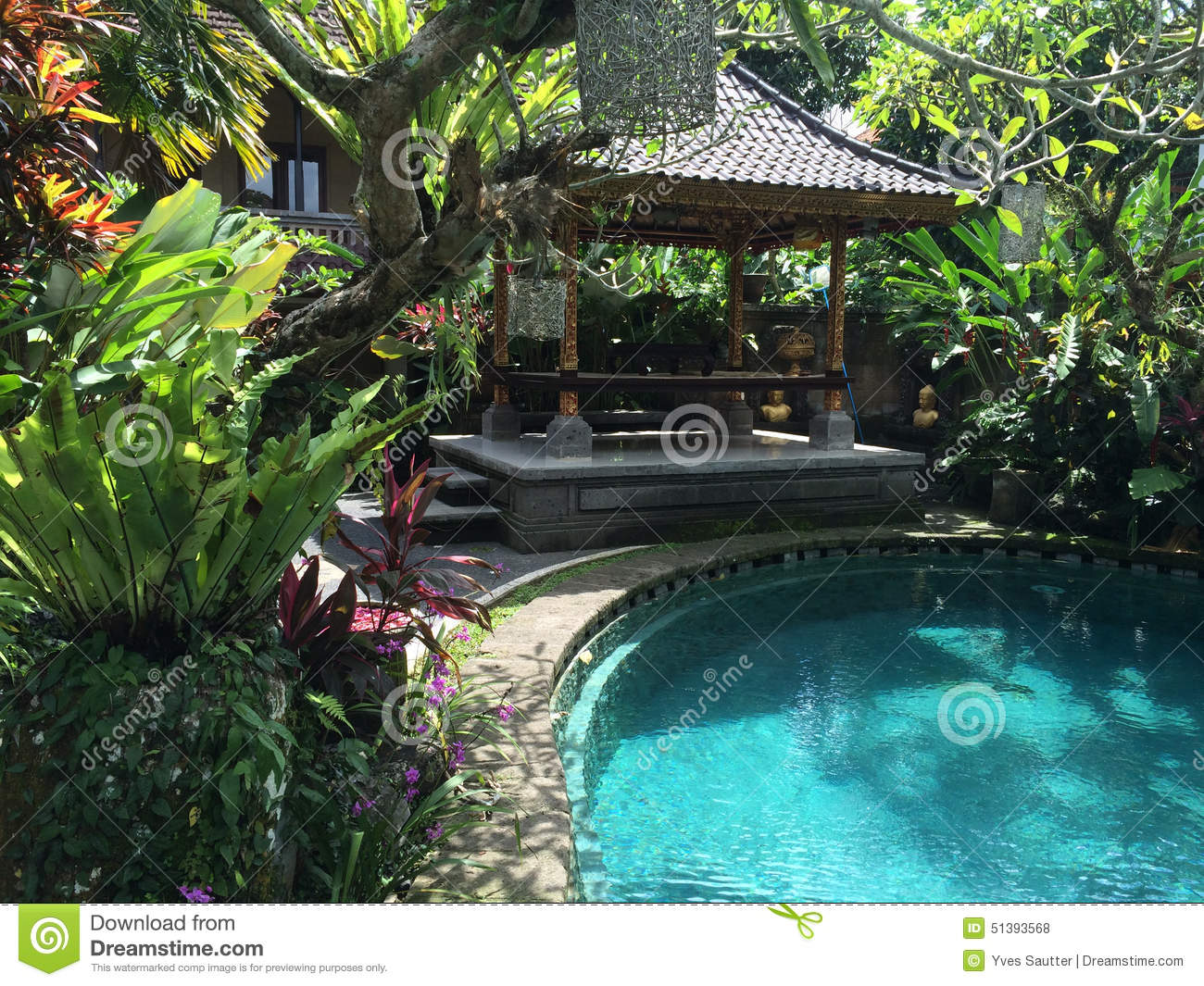 Balinese garden and pool in ubud bali indonesia stock for Green garden pool jakarta