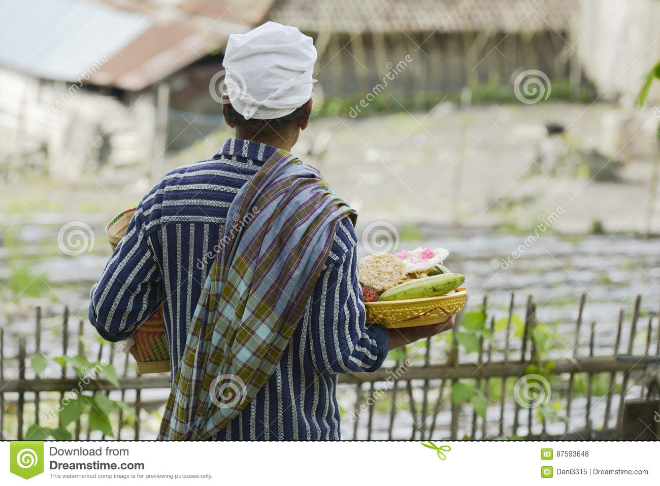 Balinese man bringing traditional offering to Hindu Temple