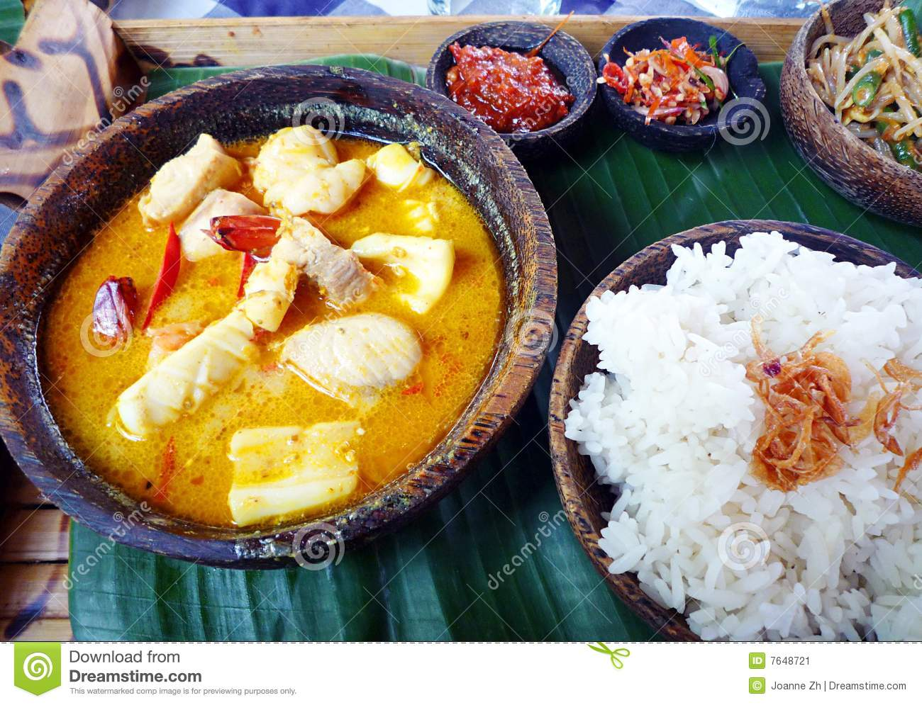 Balinese seafood curry ethnic food
