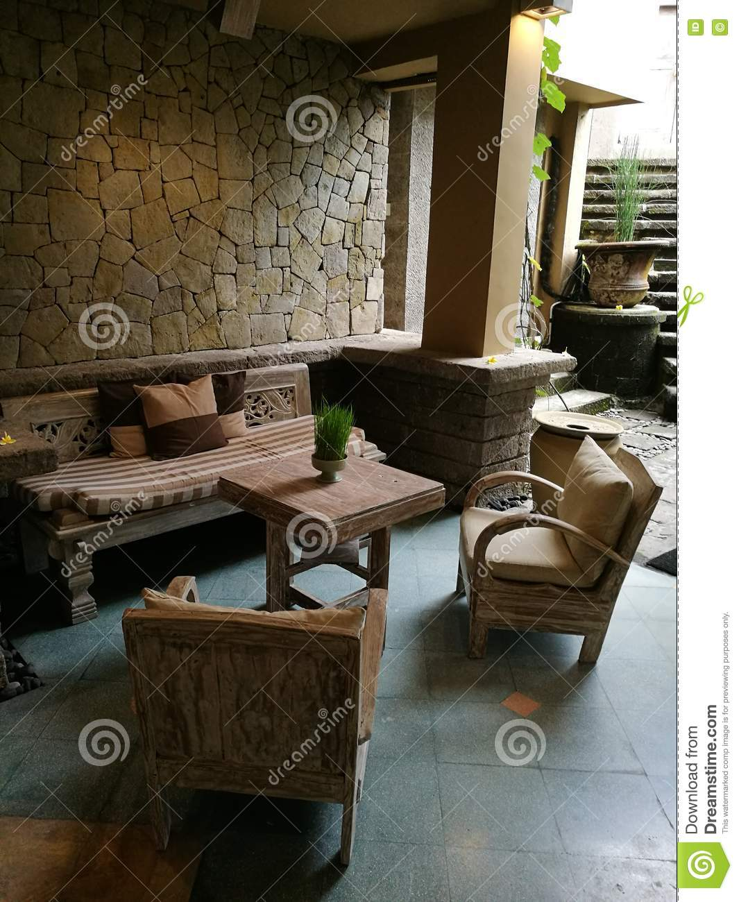 balinese style elegant hotel lobby decor stock photo