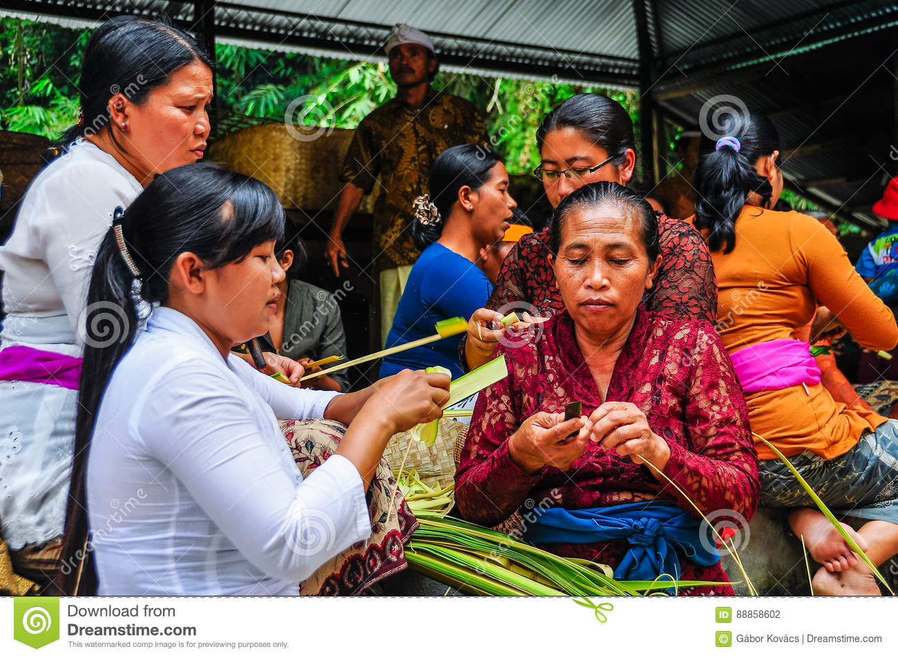 Balinese Women In Tirta Empul Temple Bali Indonesia