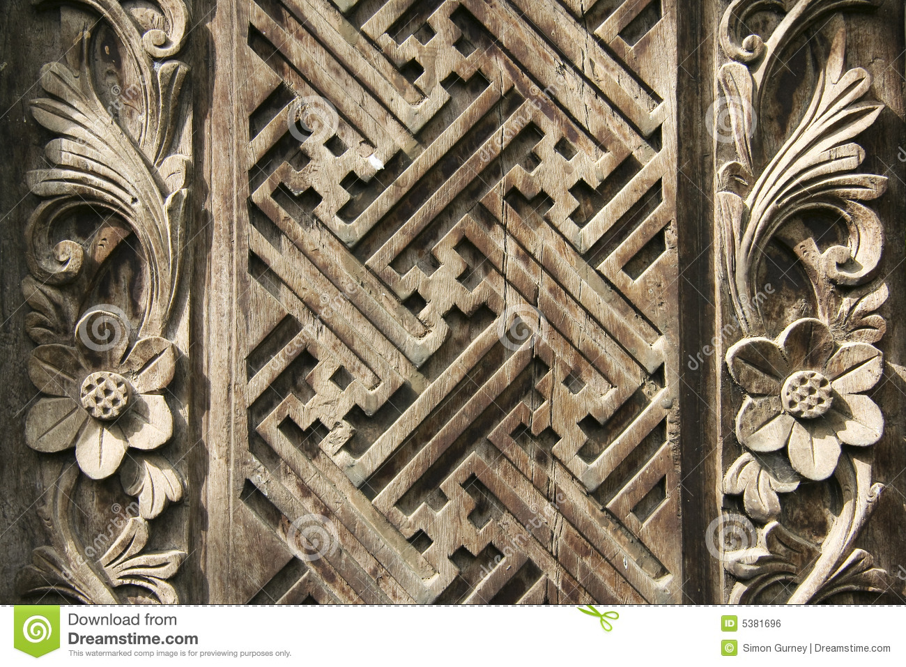 Balinese Wood Carving Design Background Royalty Free Stock