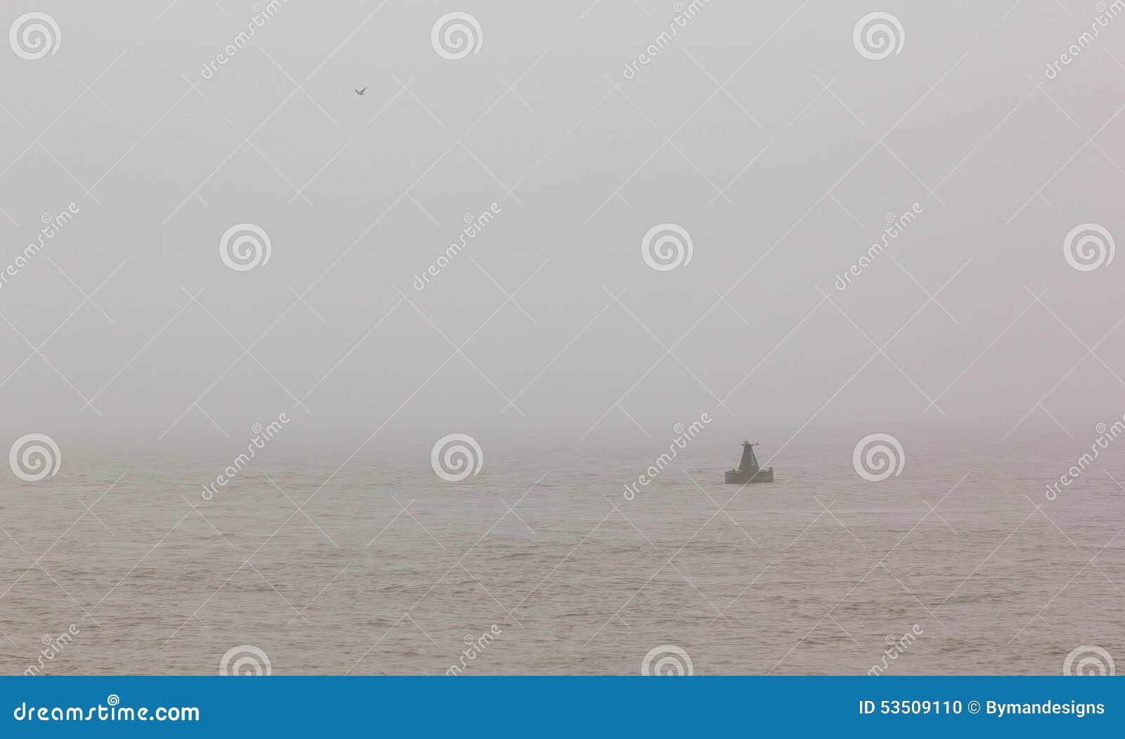 Balise et mouette de navigation en mer sur la brume de matin