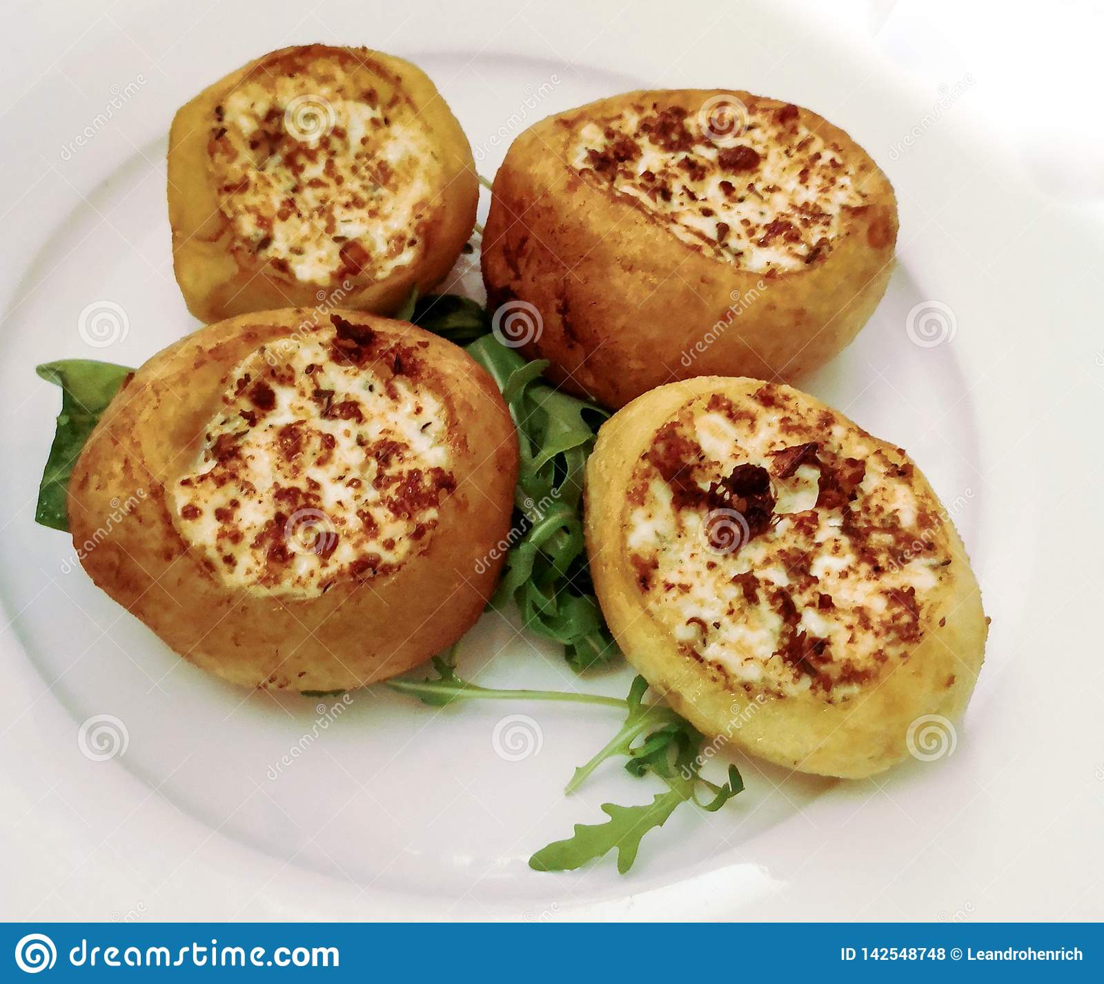 Balkan food: potatoes filled and grilled