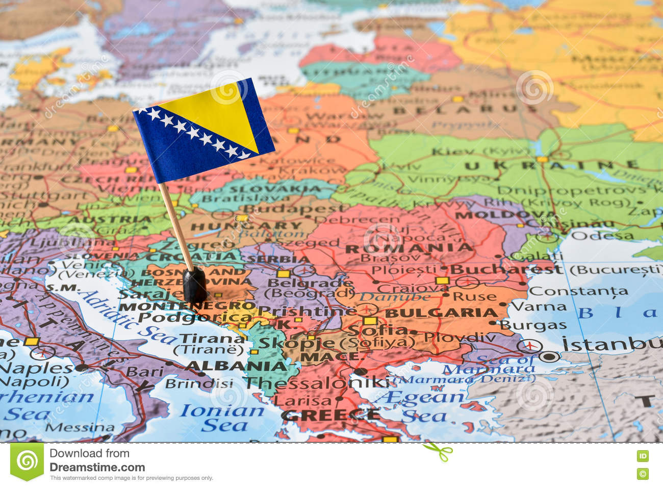 Map And Flag Of Bosnia And Herzegovina, Balkan Peninsula Stock Image ...