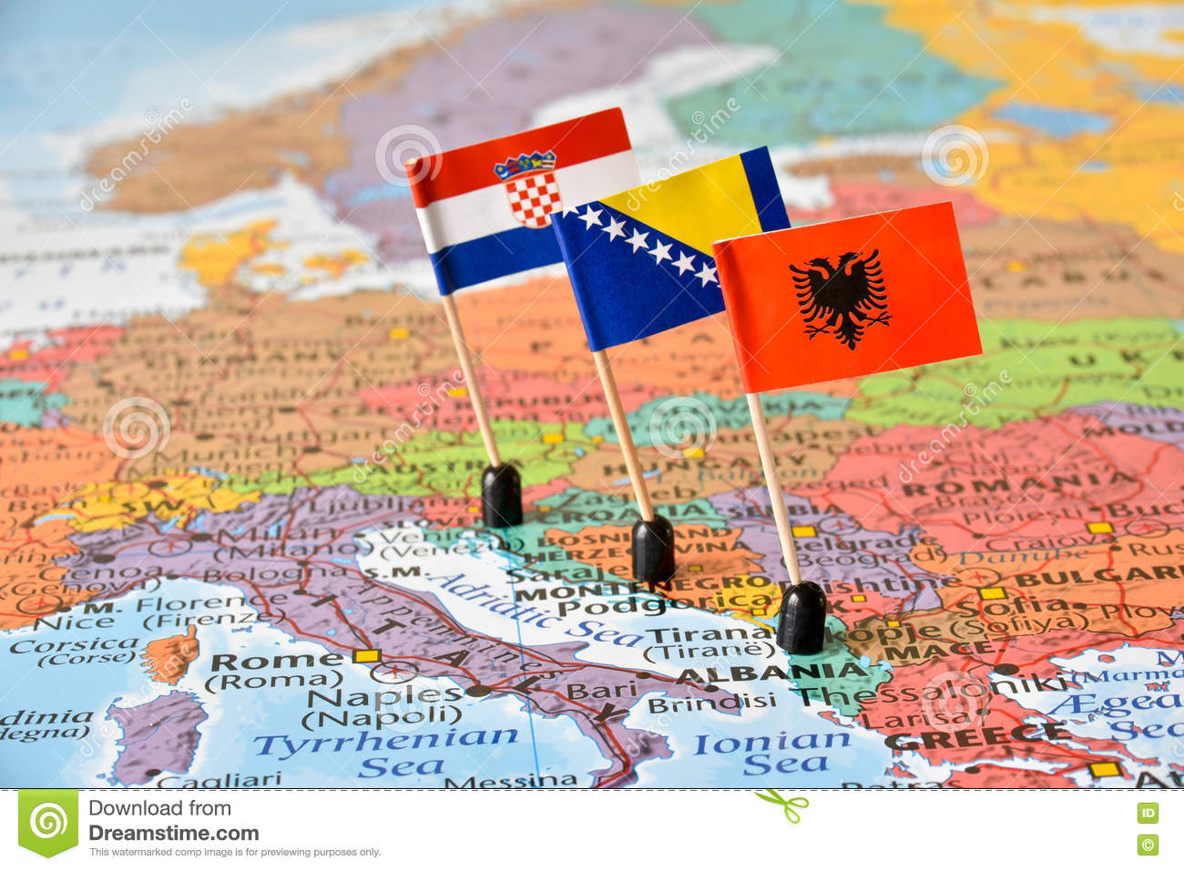 Balkans, Map And Flags Of Albania, Bosnia And Herzegovina, Croatia ...