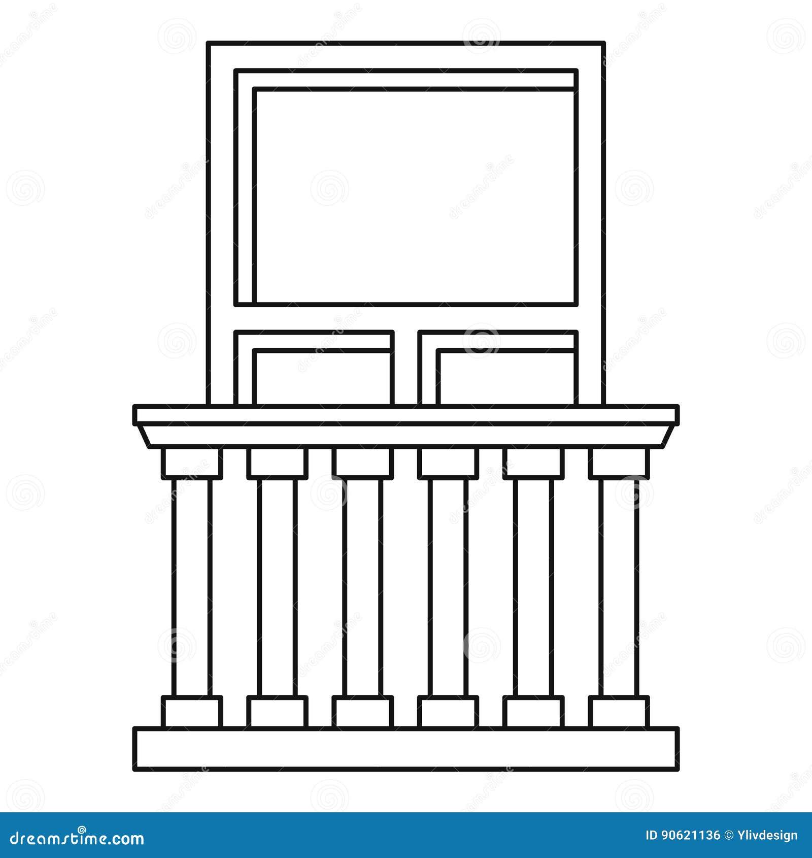 Balkon In Der Klassischen Artikone Entwurfsart Vektor Abbildung