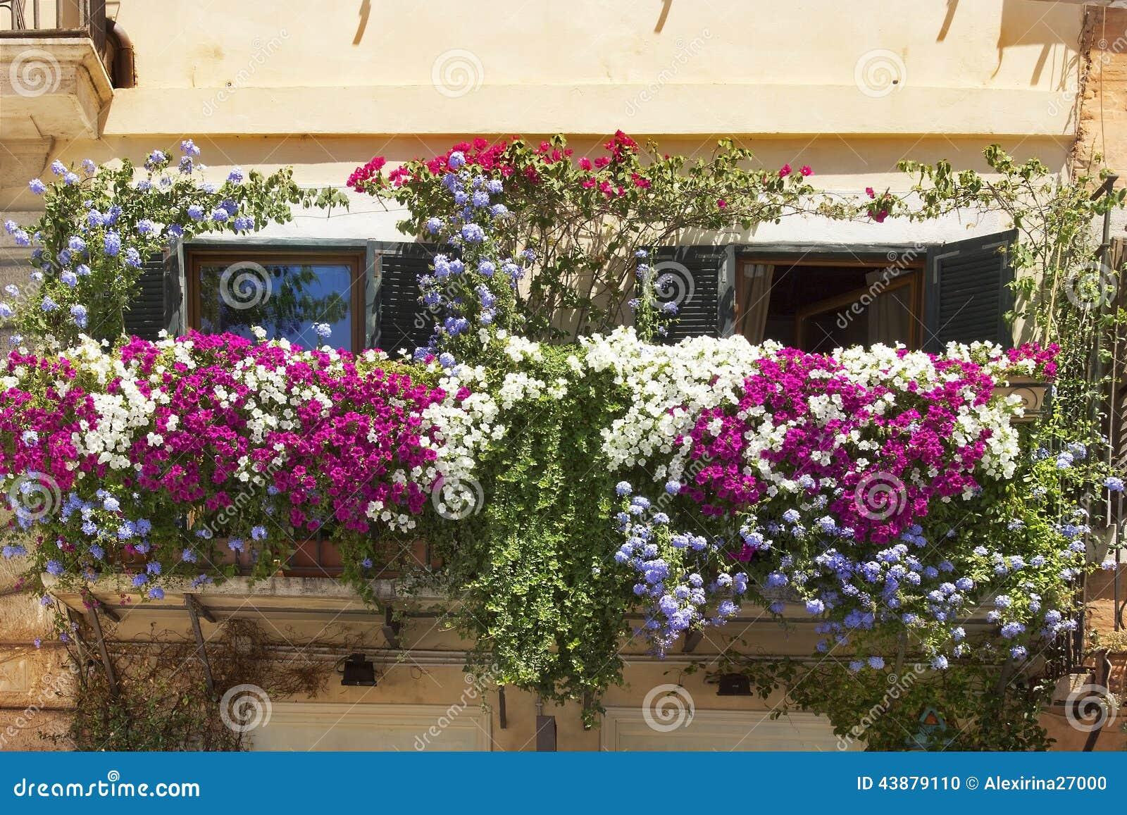 balkon twined mit blumen von petunien stockfoto bild. Black Bedroom Furniture Sets. Home Design Ideas